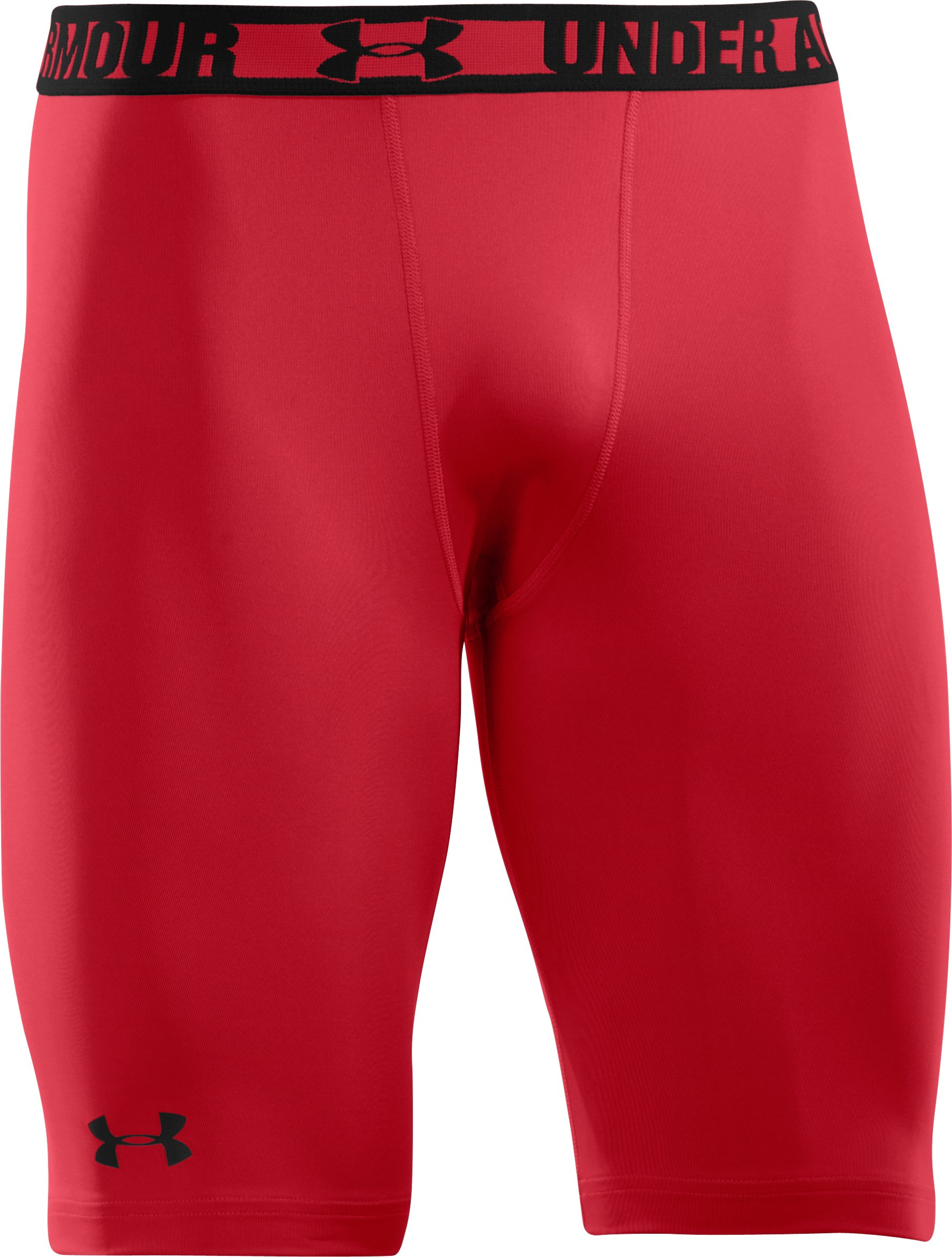 Men's HeatGear® Sonic Long Compression Shorts, Red, undefined