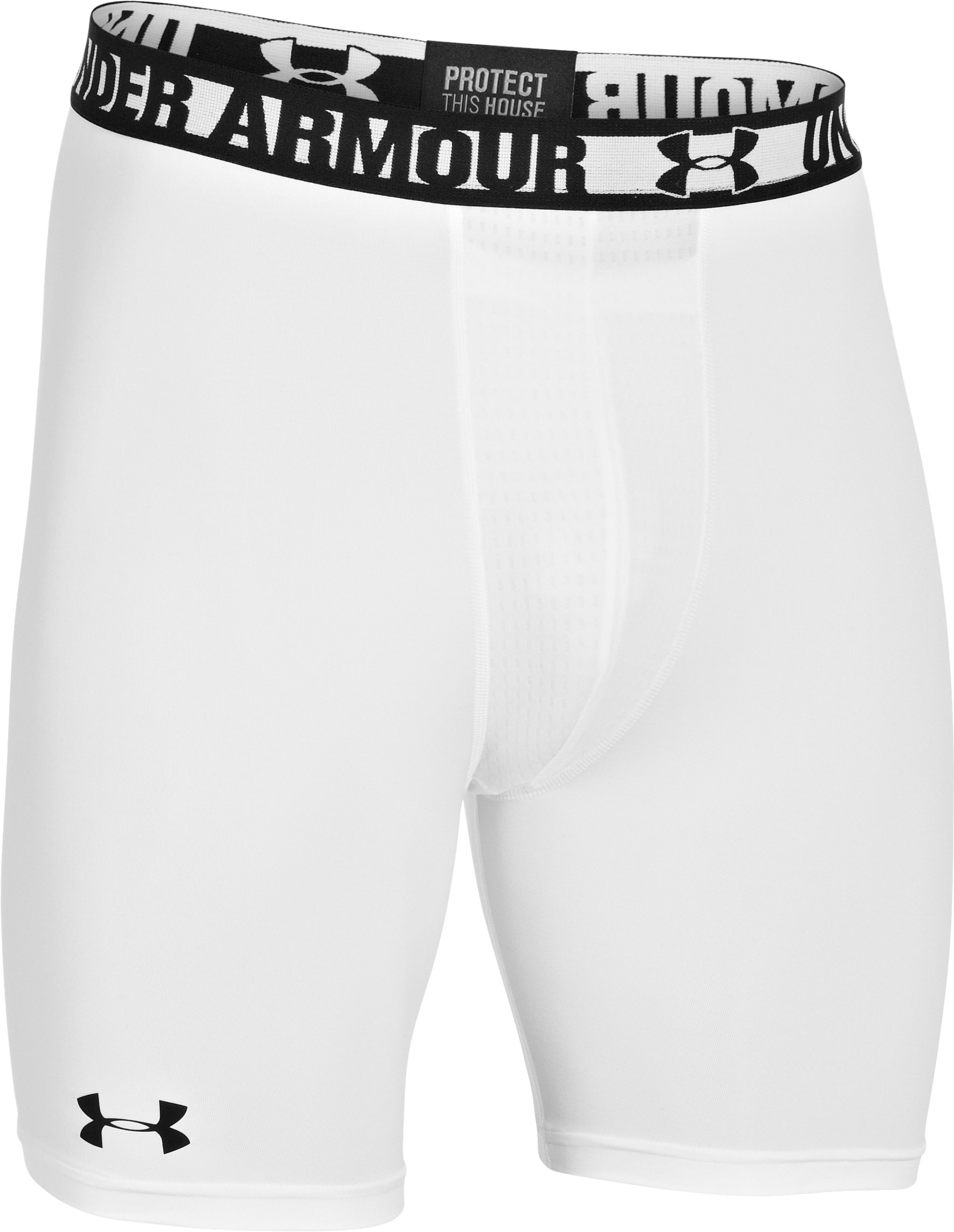 Men's HeatGear® Sonic Compression Shorts & Cup Combo, White, undefined