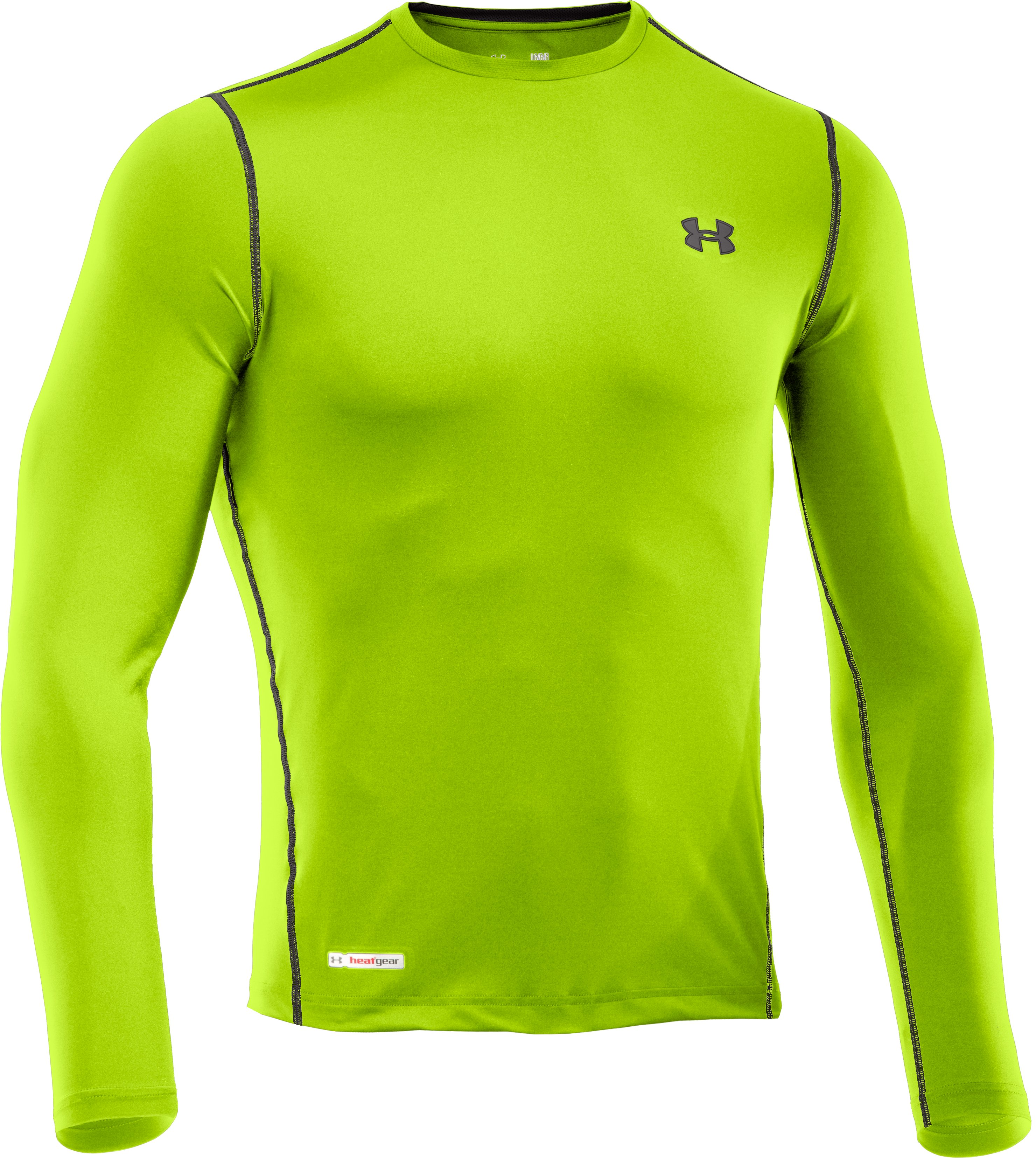 Men's HeatGear® Sonic Fitted Long Sleeve, HYPER GREEN