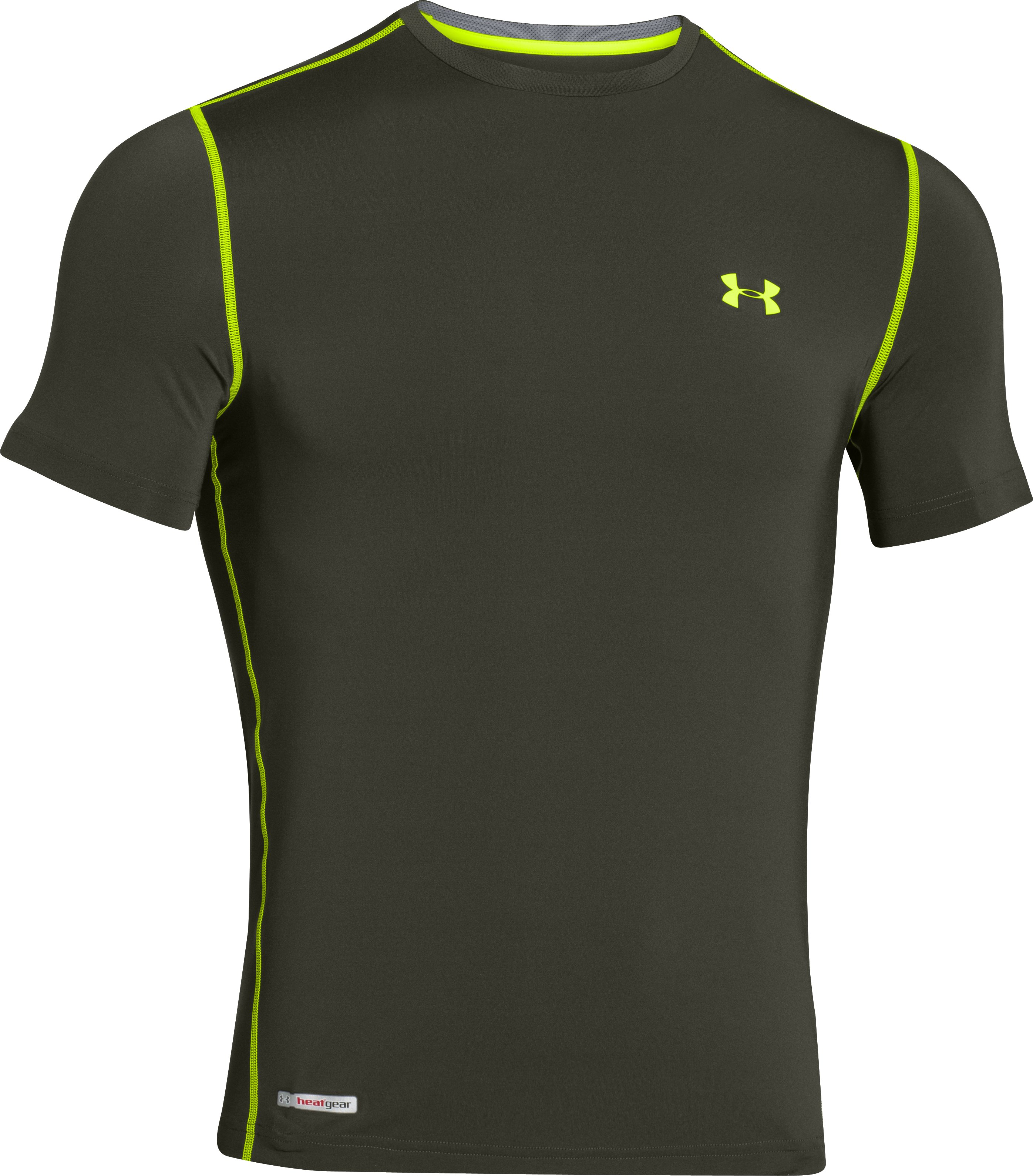 Men's HeatGear® Sonic Fitted Short Sleeve, Rifle Green, undefined