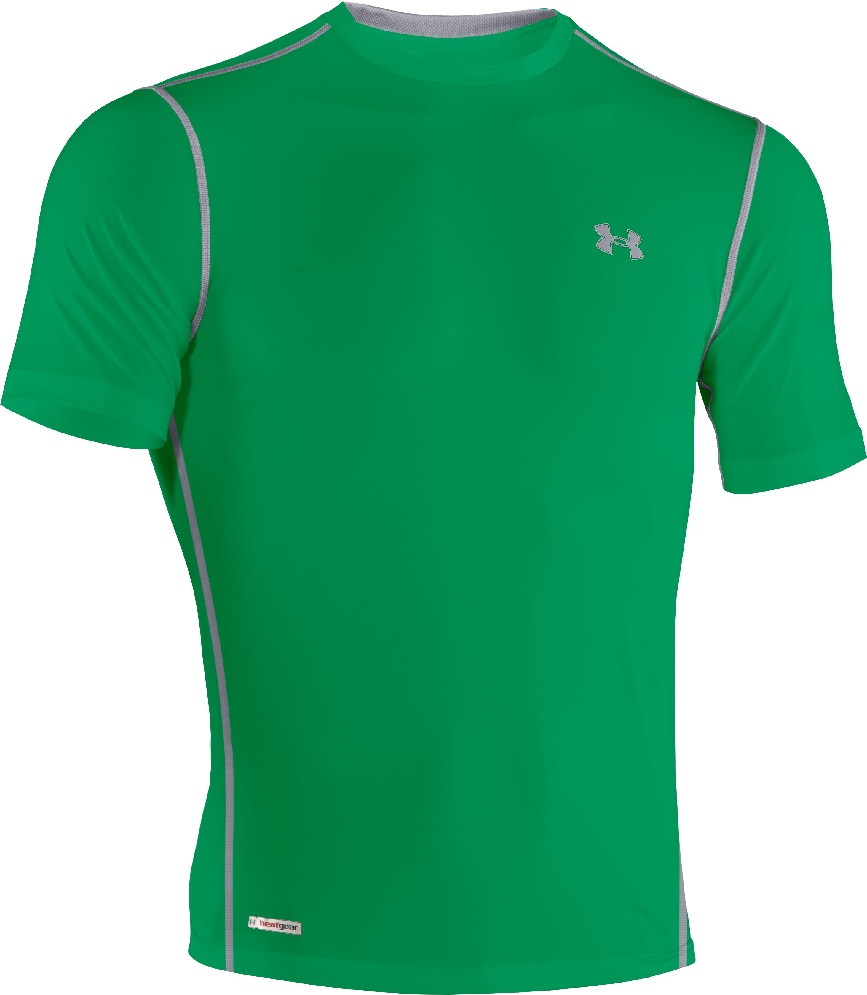 Men's HeatGear® Sonic Fitted Short Sleeve, ASTRO GREEN
