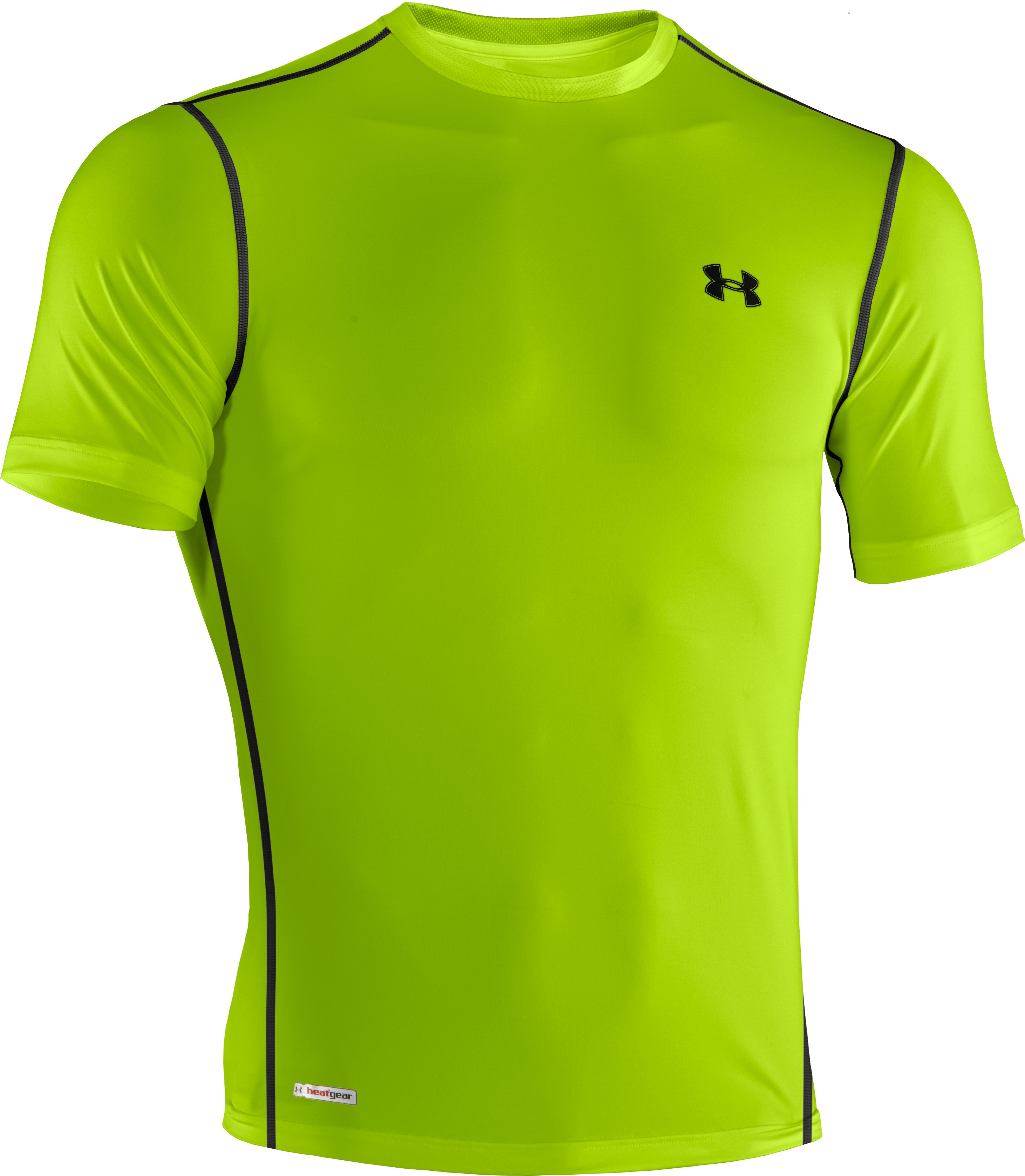 Men's HeatGear® Sonic Fitted Short Sleeve, HYPER GREEN, undefined