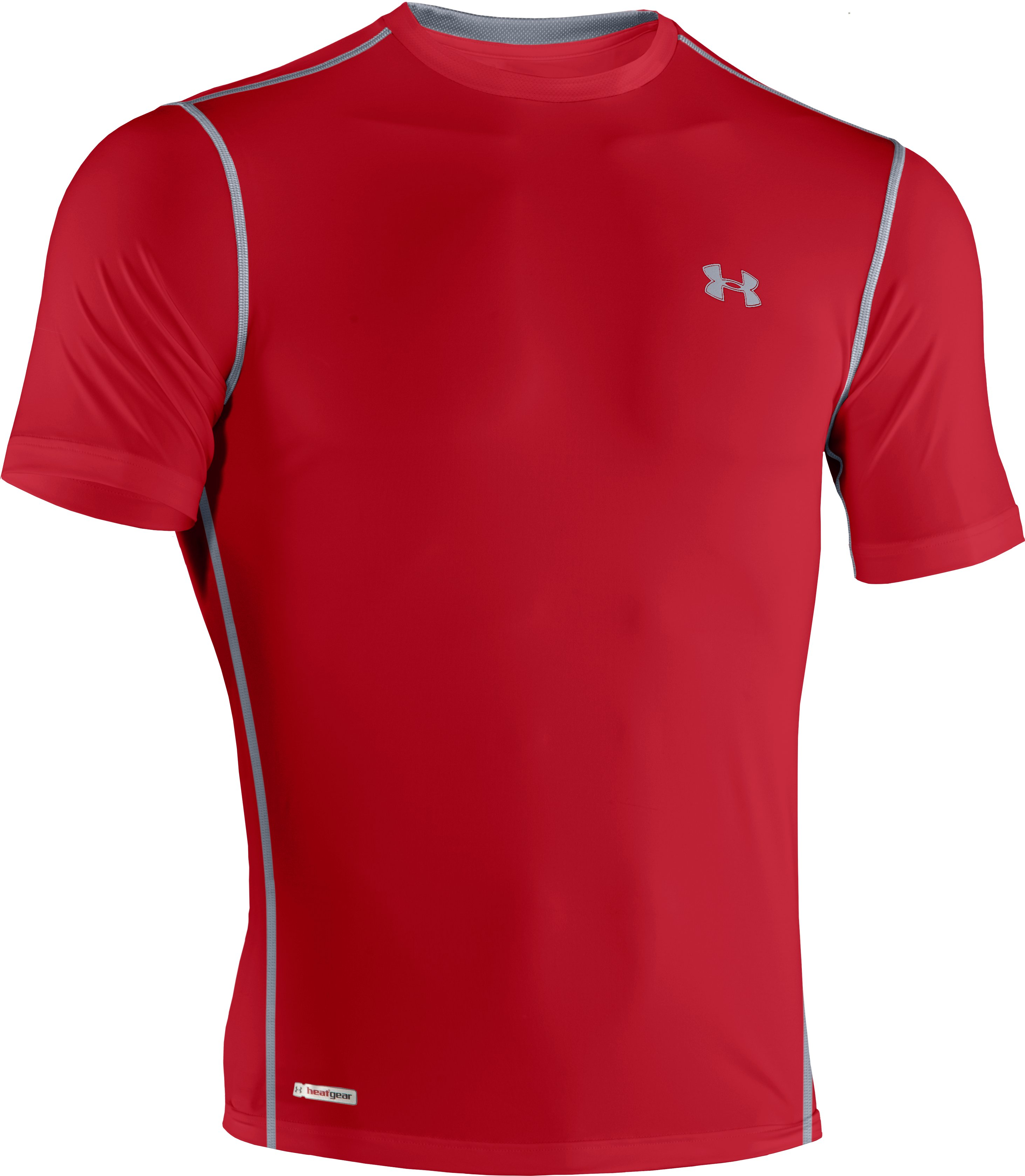 Men's HeatGear® Sonic Fitted Short Sleeve, Red