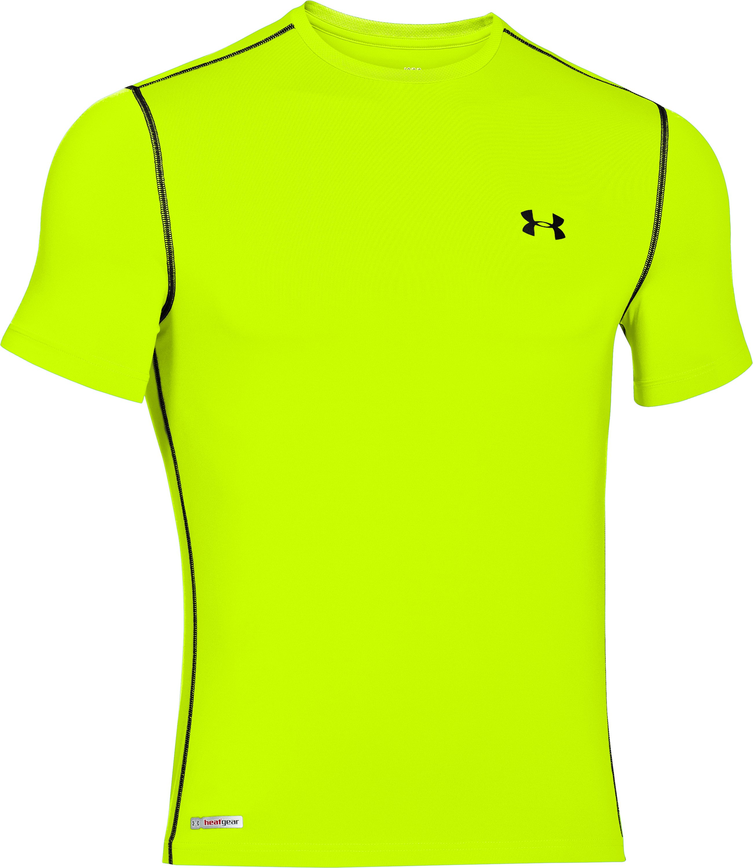 Men's HeatGear® Sonic Fitted Short Sleeve, High-Vis Yellow, undefined