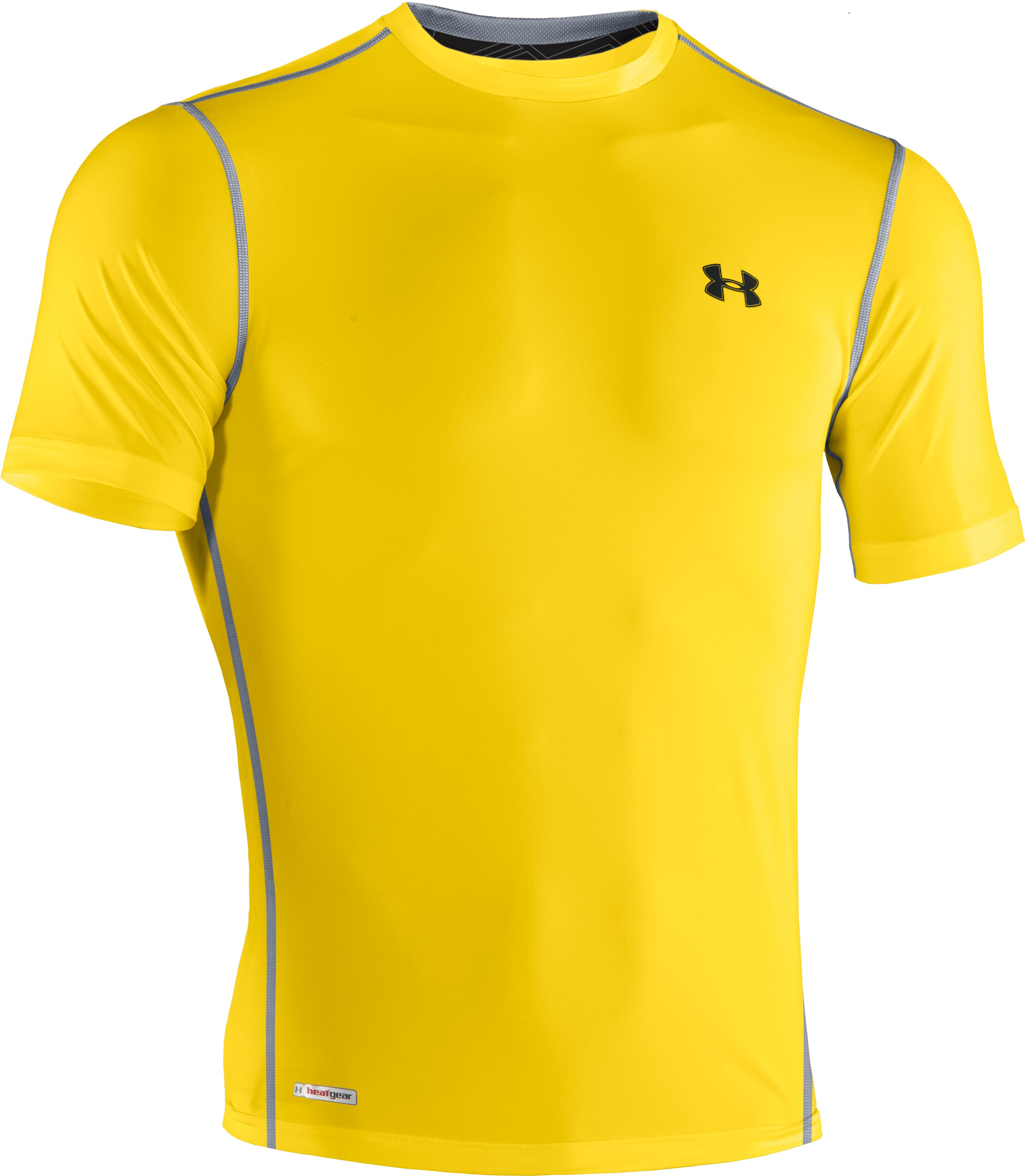 Men's HeatGear® Sonic Fitted Short Sleeve, Taxi