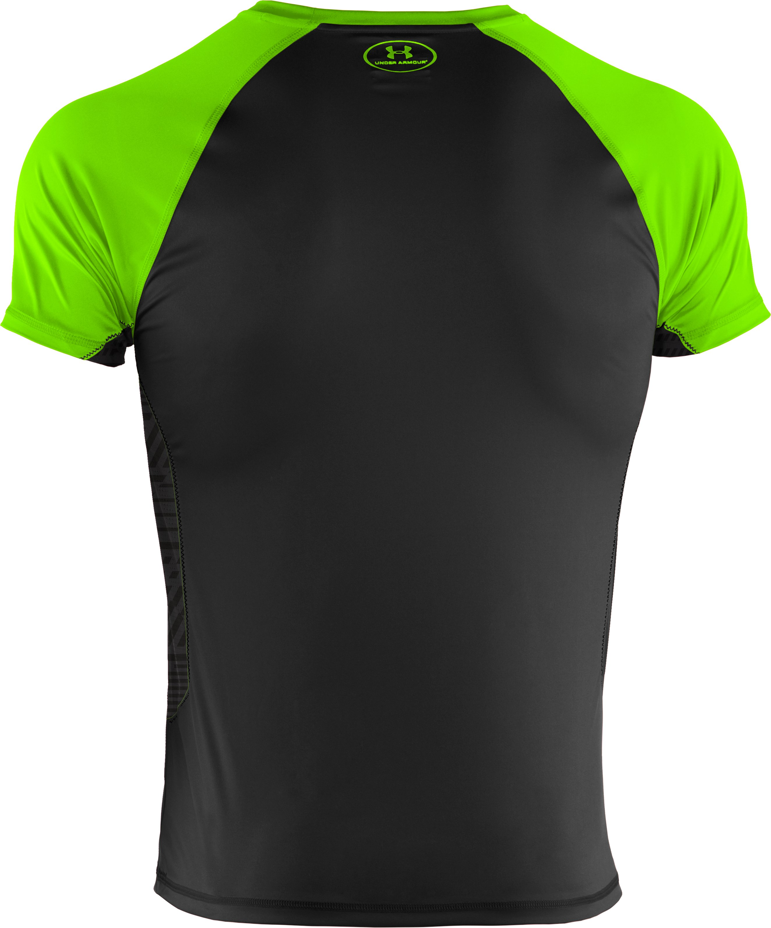 Men's HeatGear® Flyweight Short Sleeve, HYPER GREEN,