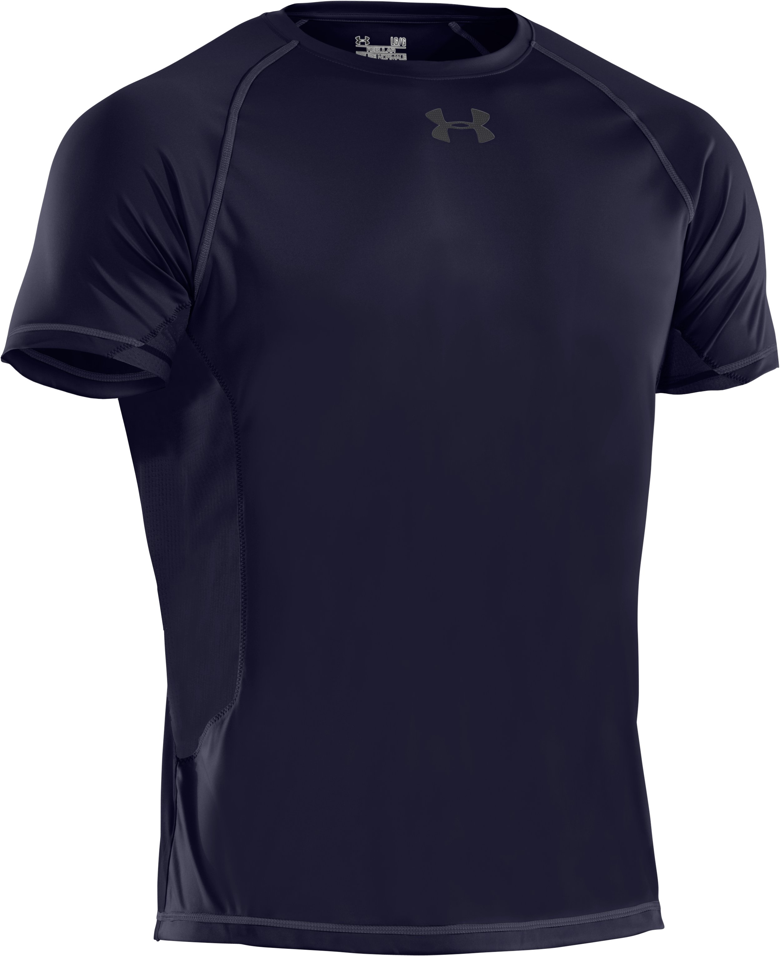 Men's HeatGear® Flyweight Short Sleeve, Midnight Navy, undefined