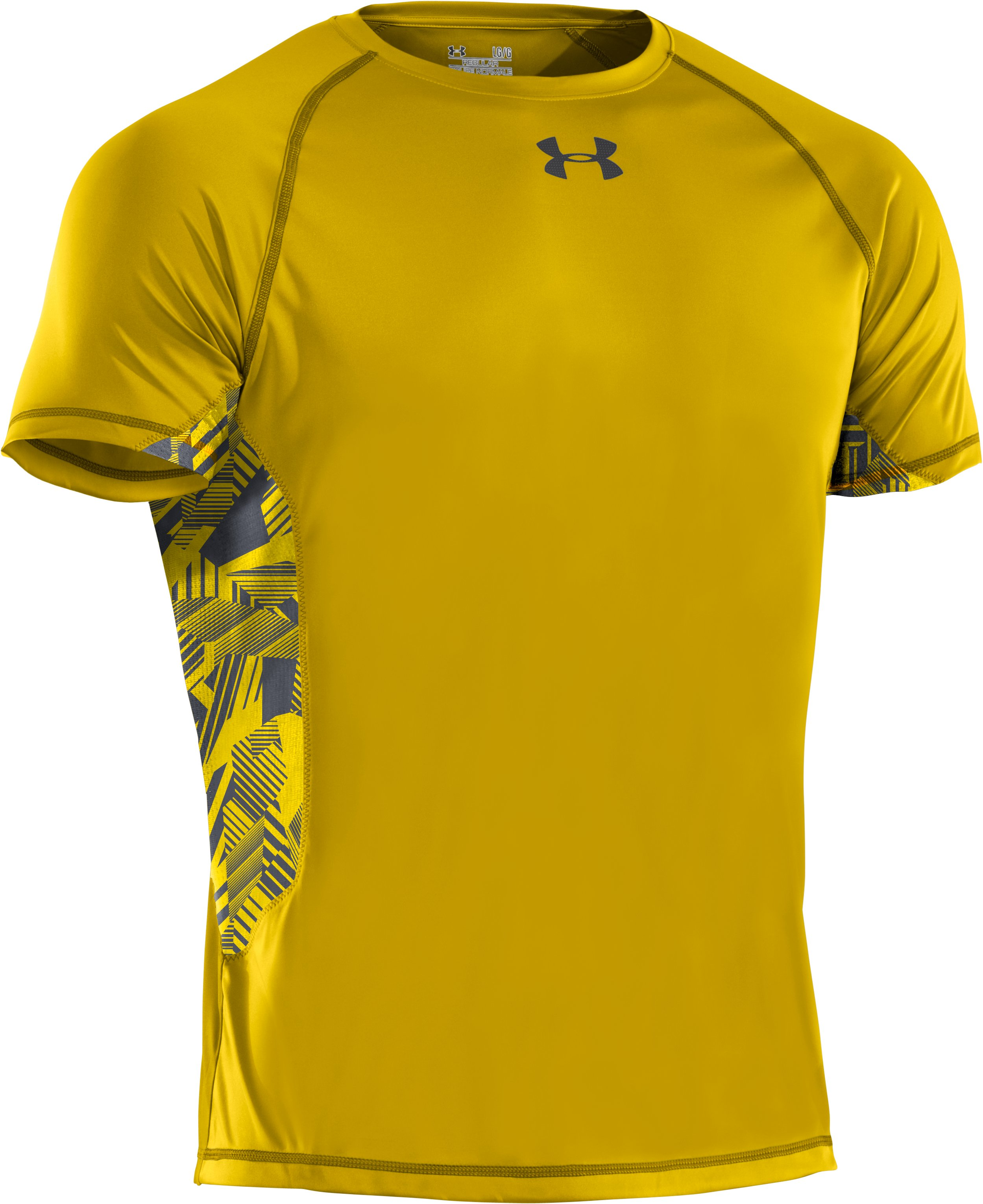 Men's HeatGear® Flyweight Short Sleeve, Taxi, undefined