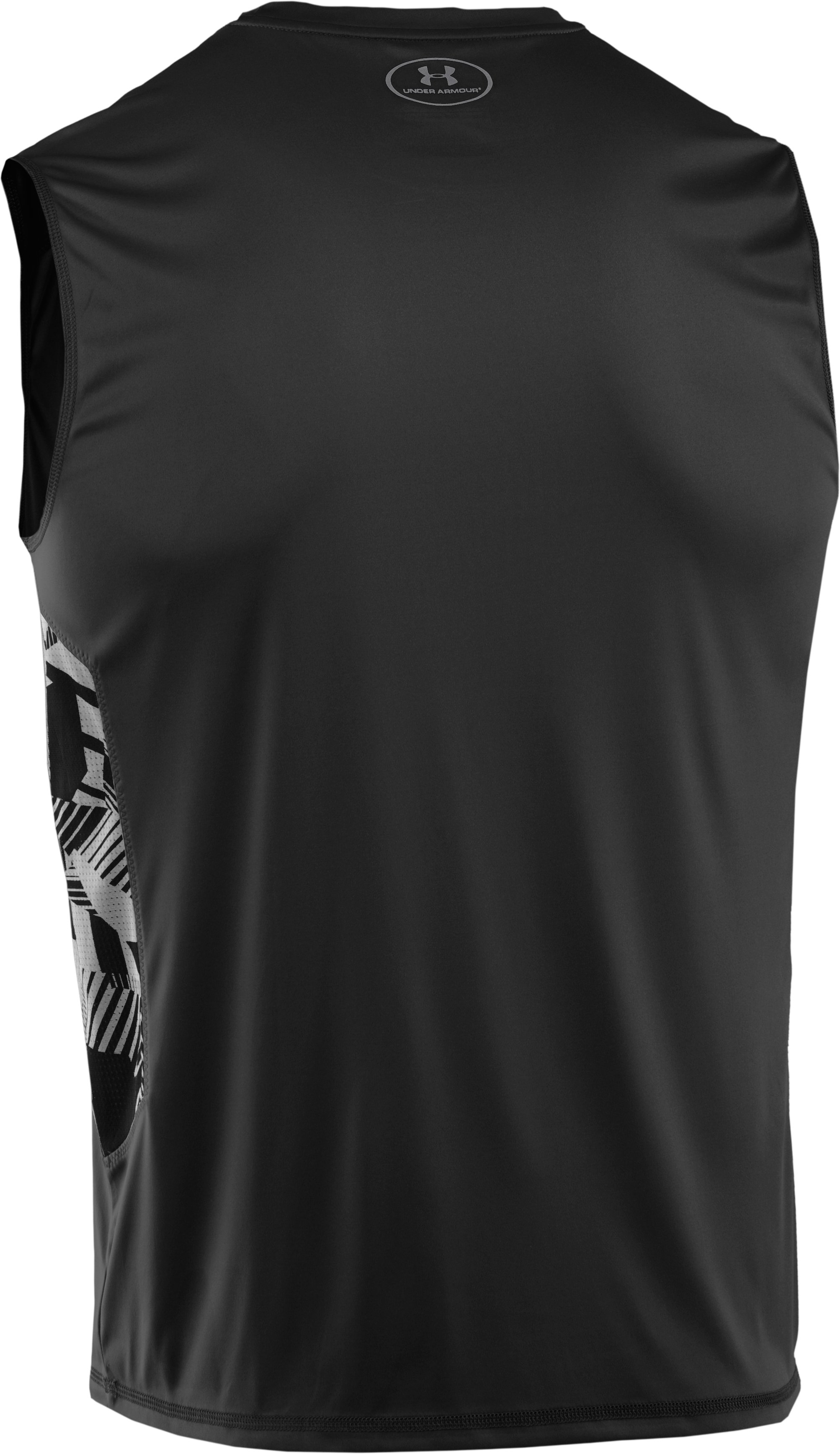 Men's HeatGear® Flyweight Sleeveless, Black ,