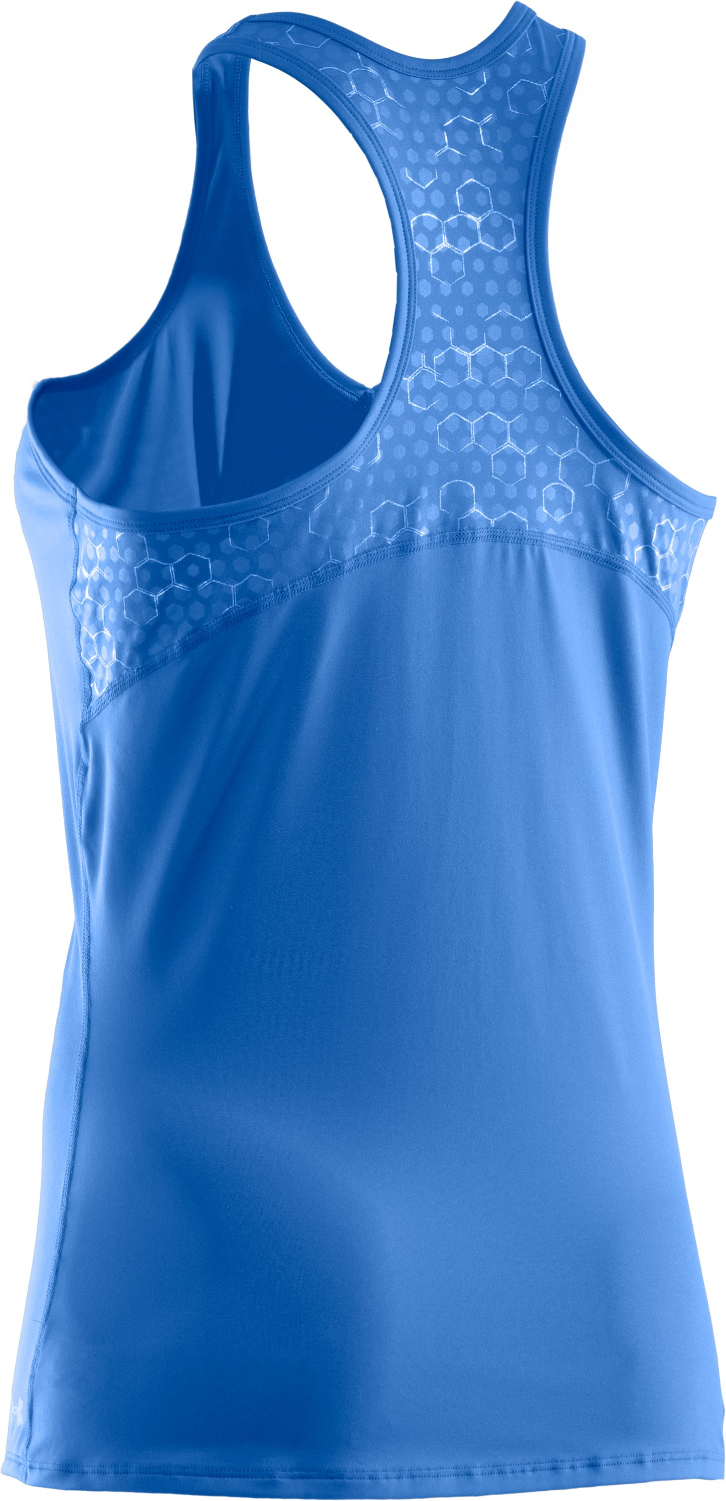 Women's HeatGear® Sonic Printed Racer Back Tank, Water,