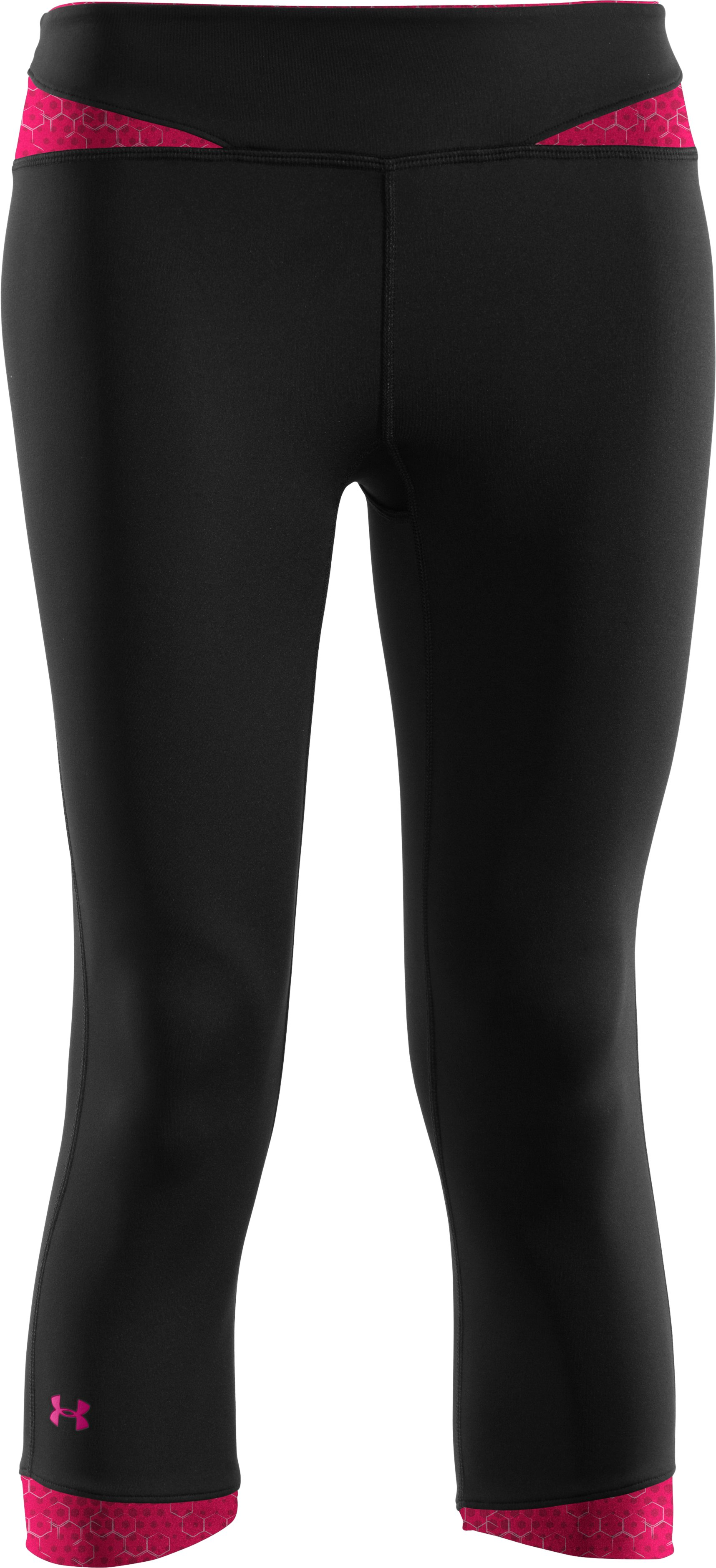 Women's HeatGear® Sonic All-In-One Capri test, Black , undefined