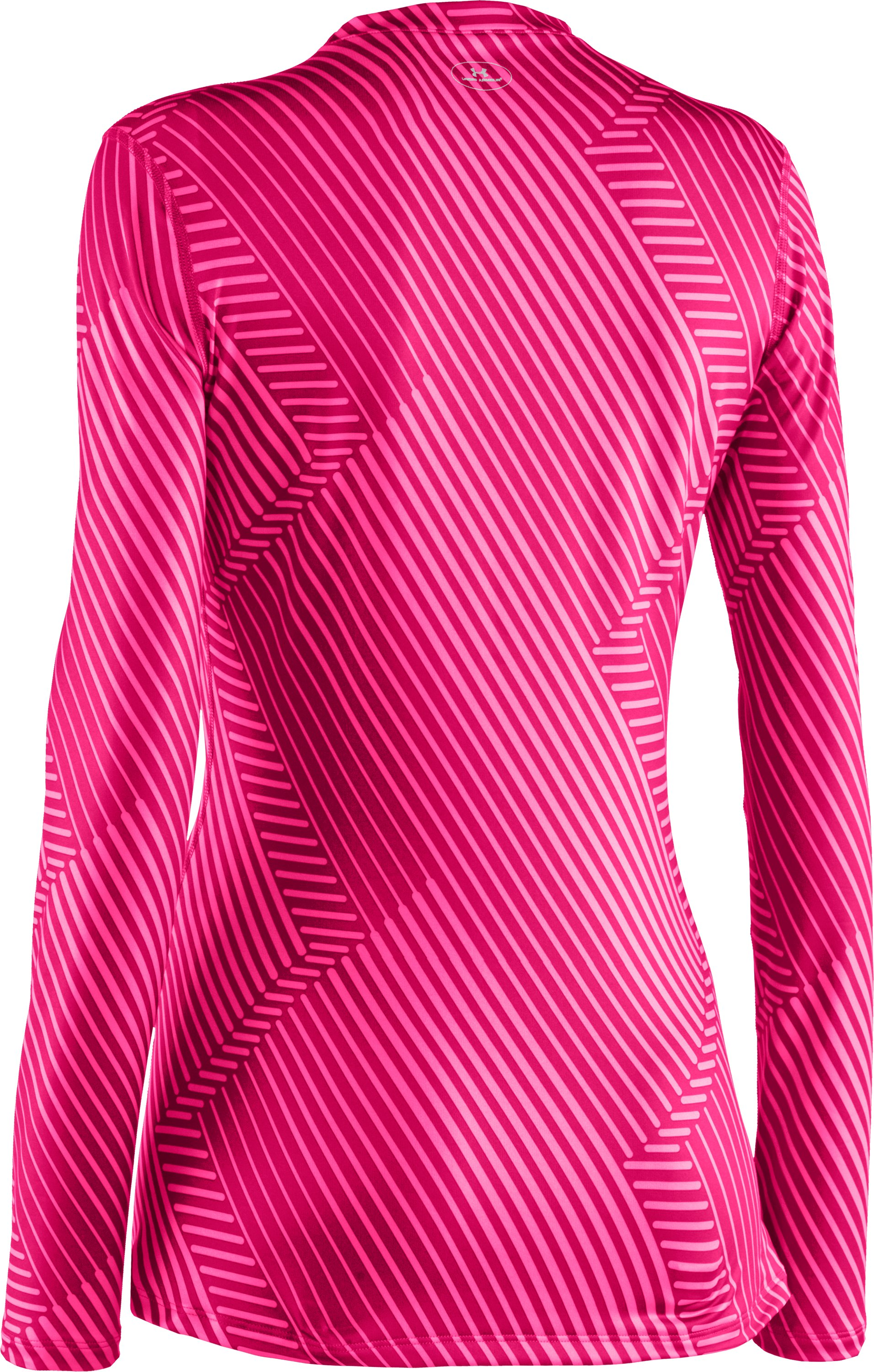 Women's UA ColdGear® Printed Fitted Long Sleeve, Cerise,