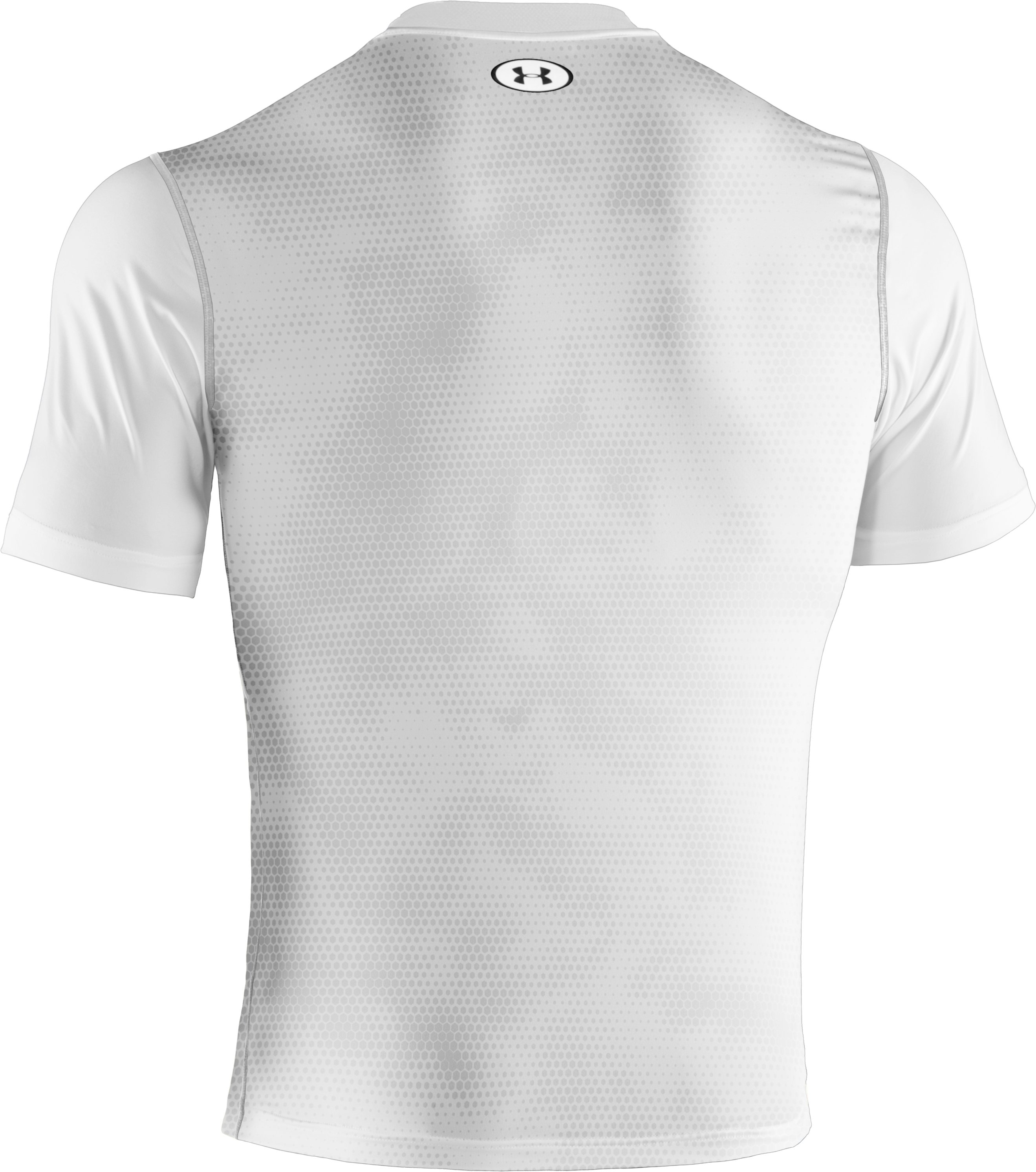 Men's HeatGear® Sonic Printed Fitted Short Sleeve, White