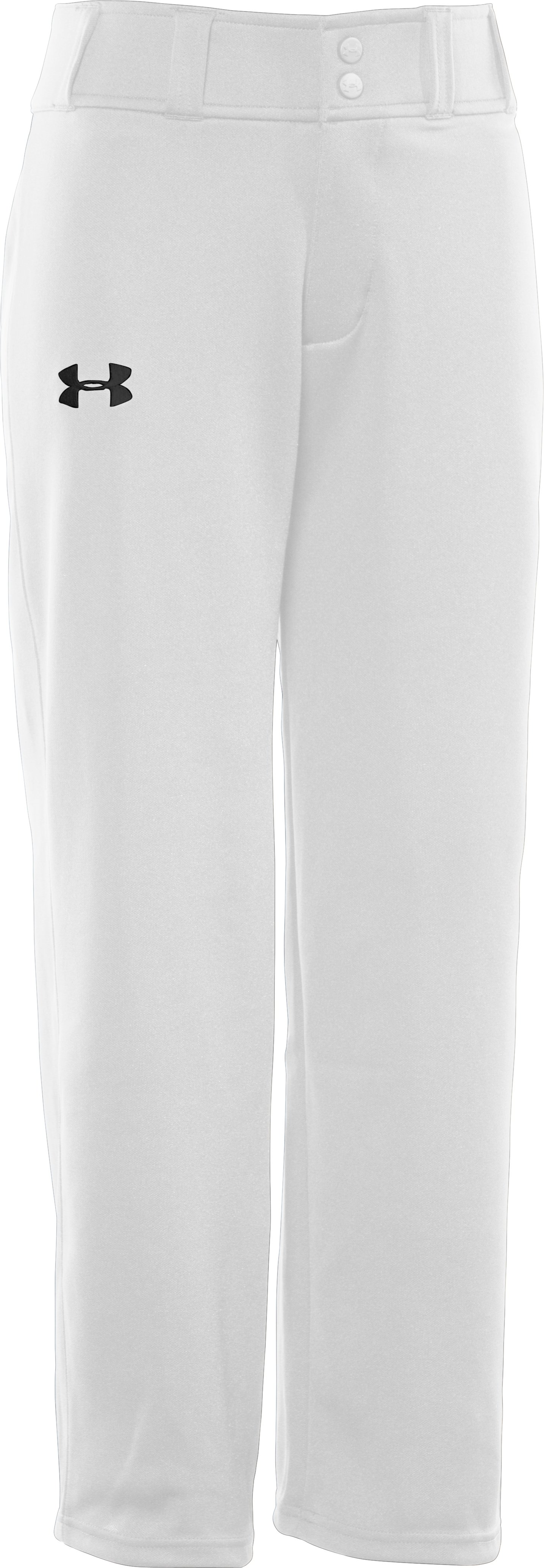 Boys' UA Clean Up Baseball Pants, White, zoomed image