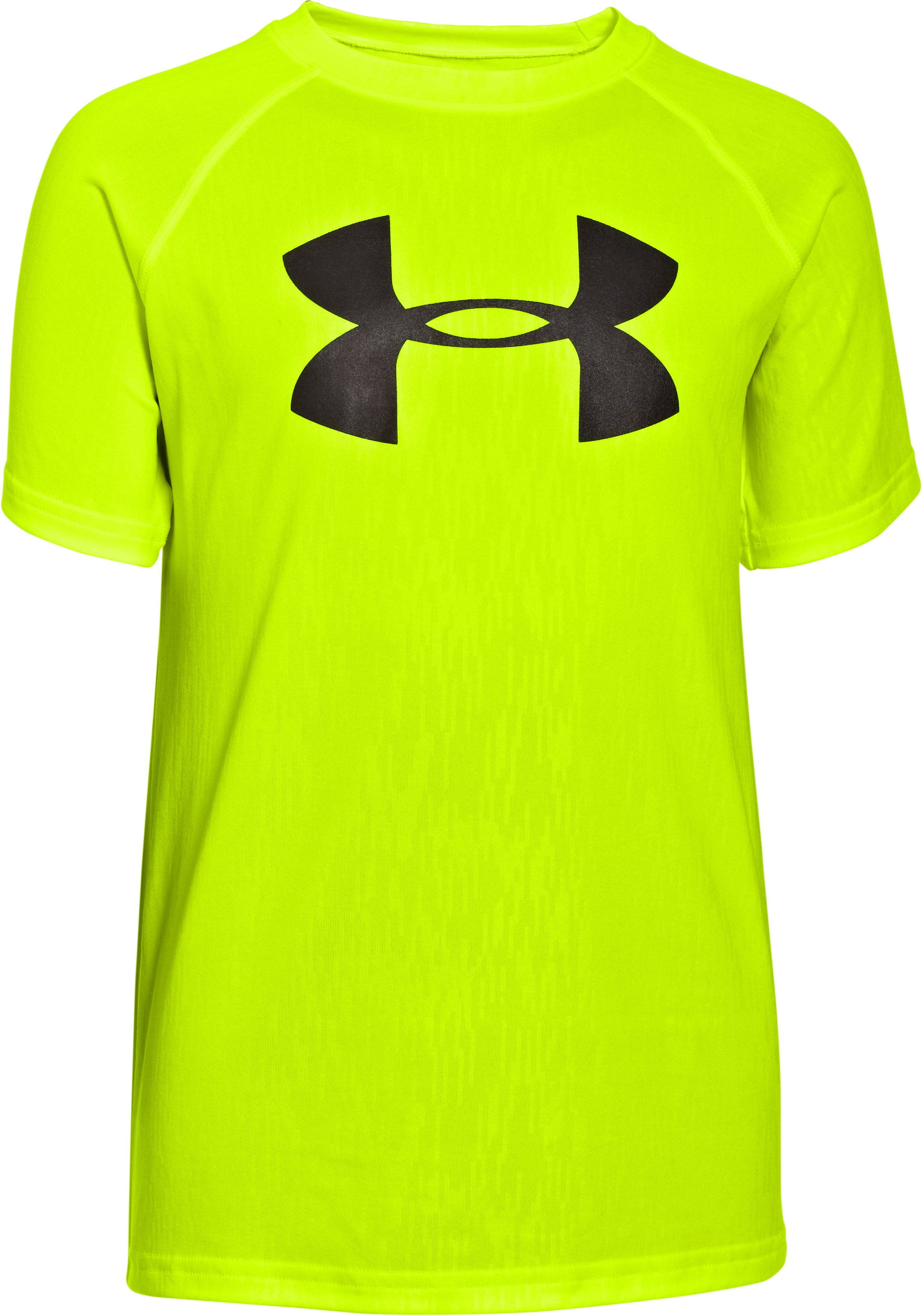 Boys' UA Big Logo Embossed T-Shirt, High-Vis Yellow, zoomed image