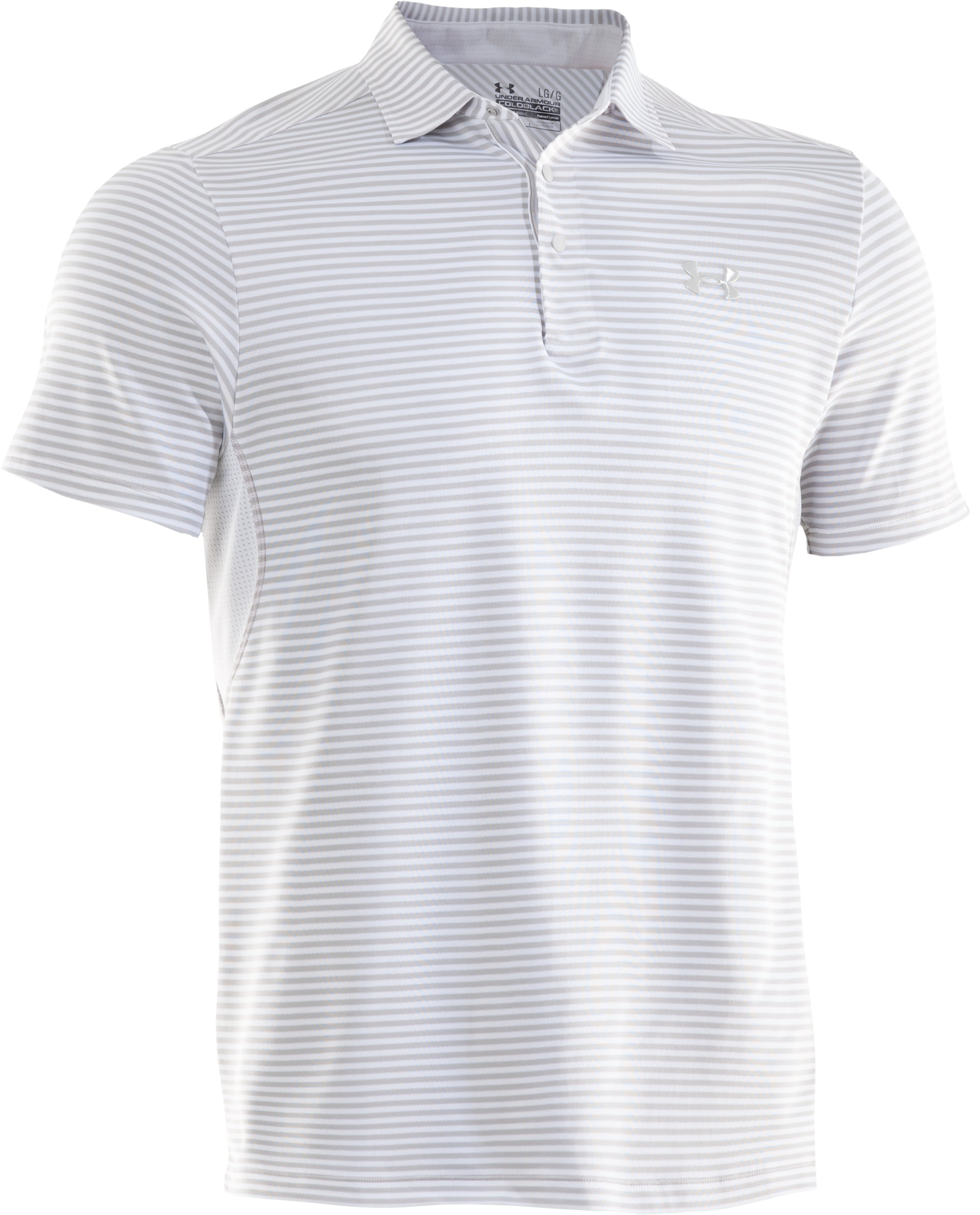 Men's coldblack® Optic Stripe Polo, White