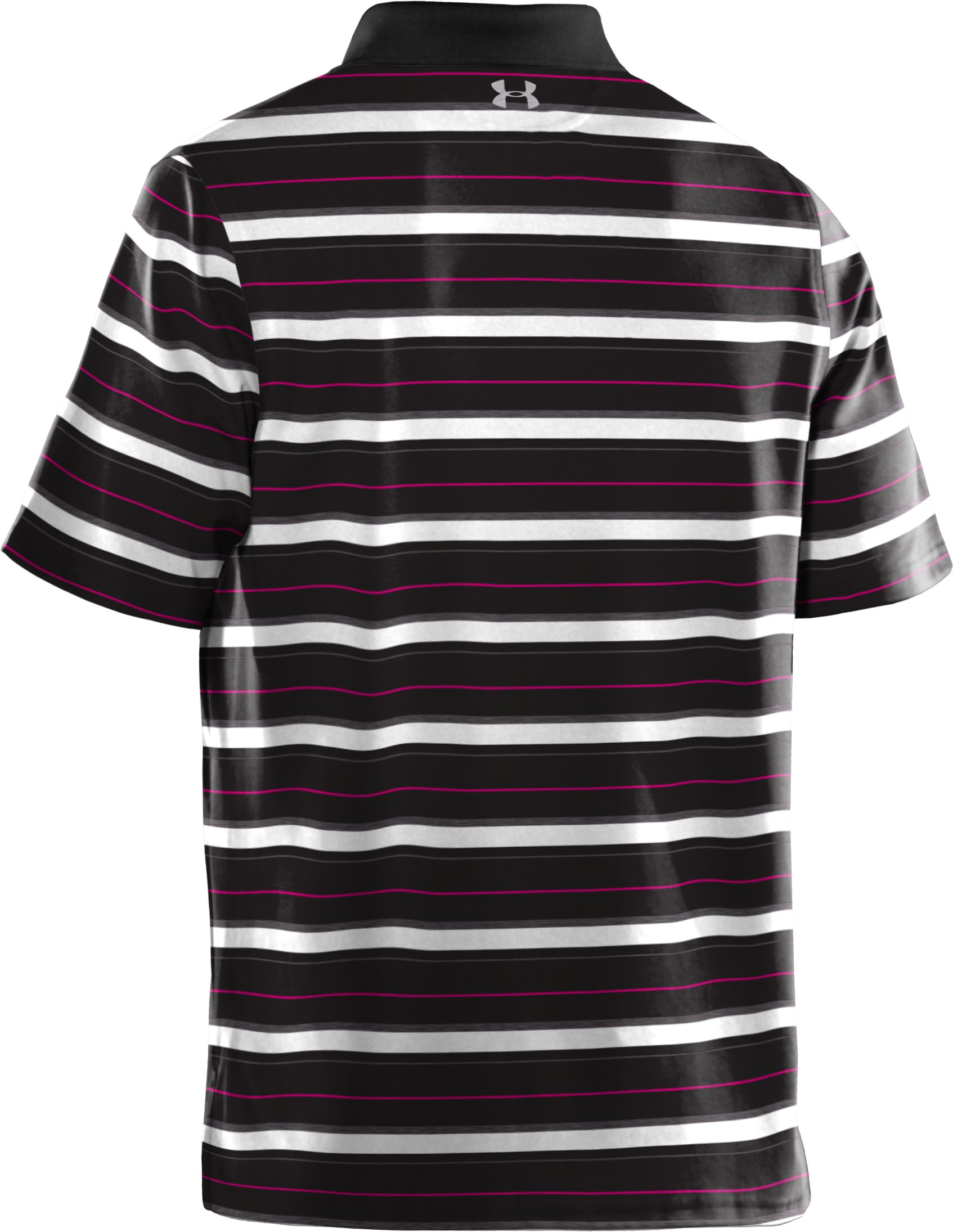 Men's UA Performance Heathered Stripe Polo, Black , undefined