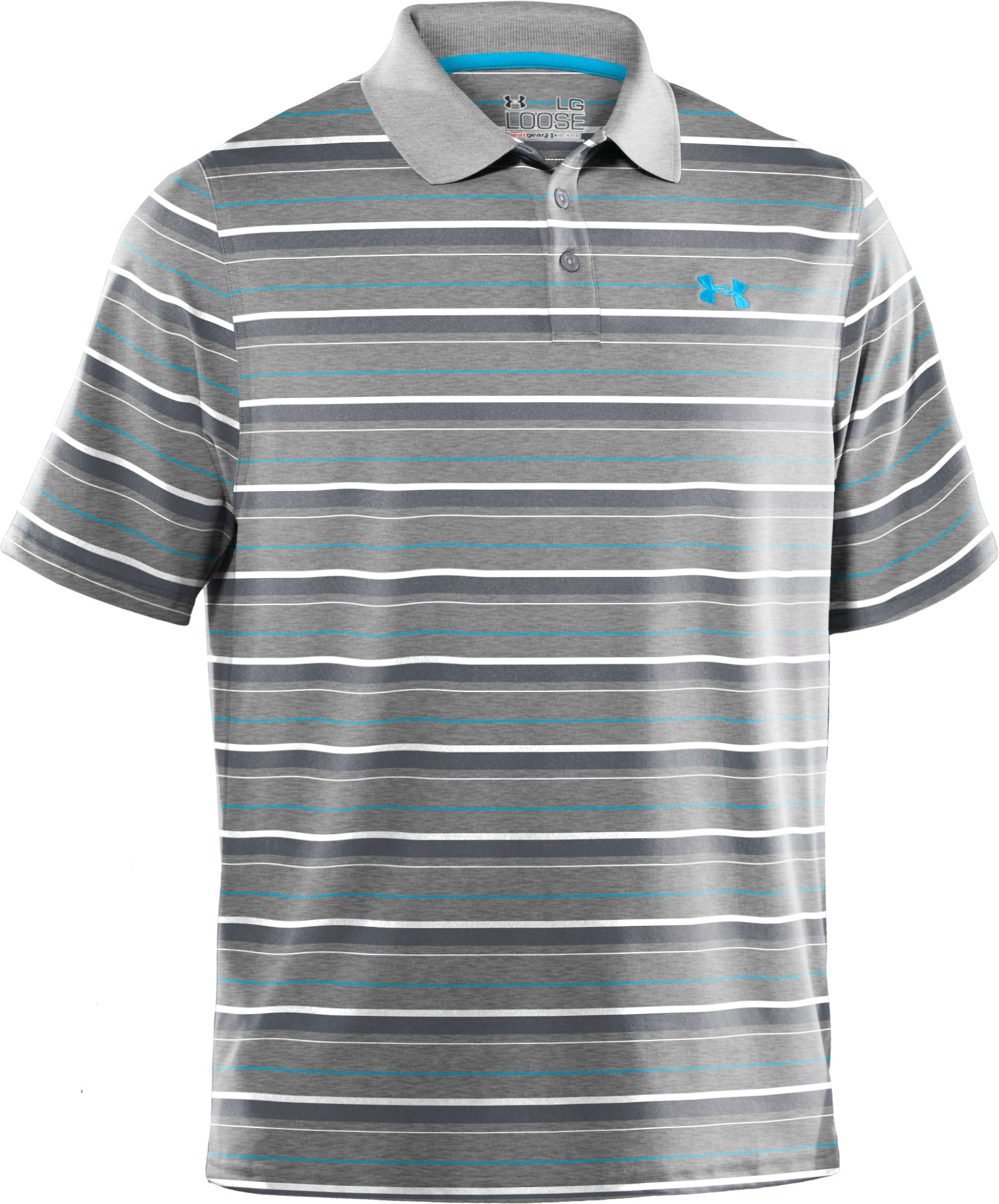 Men's UA Performance Heathered Stripe Polo, True Gray Heather, undefined