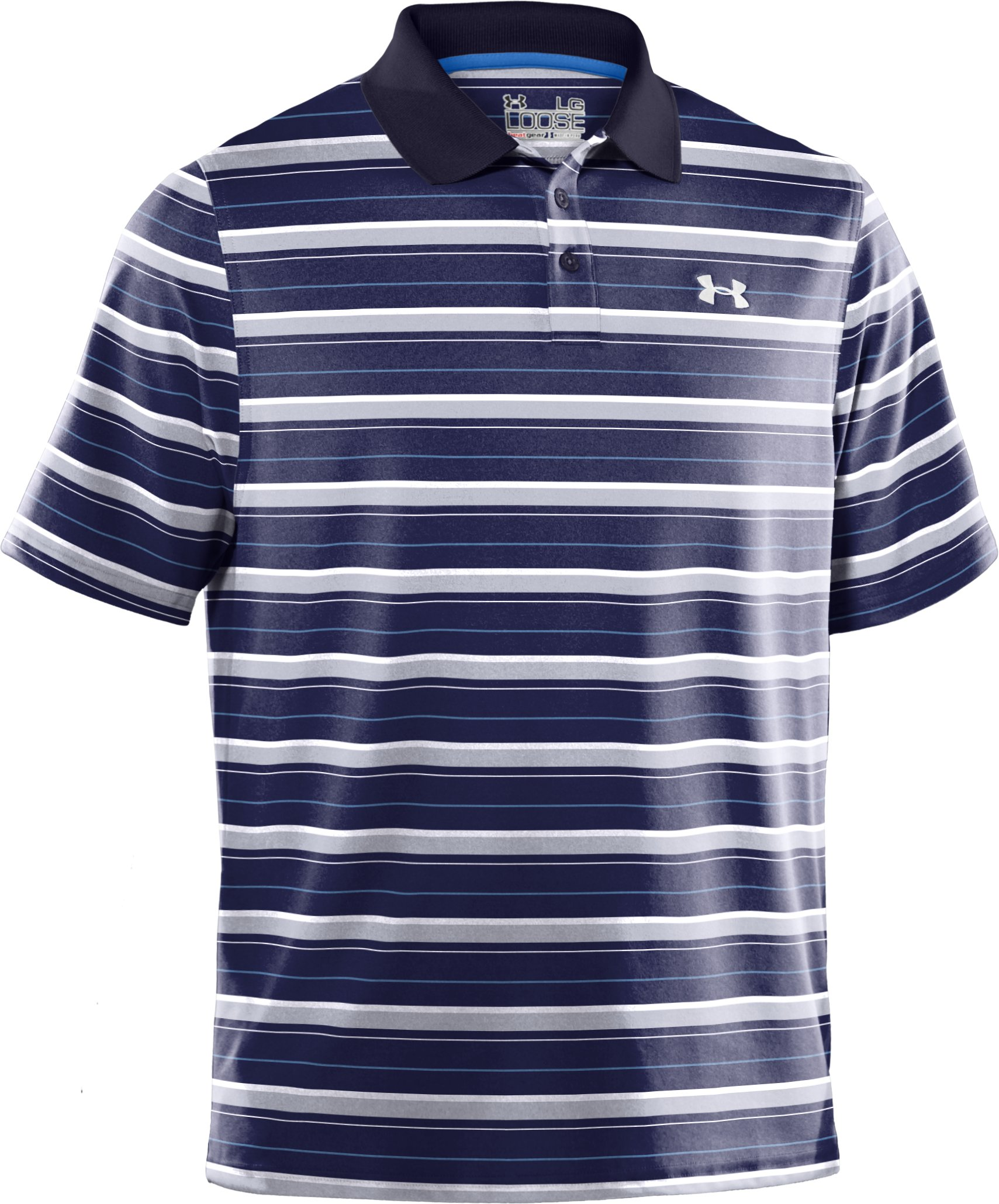 Men's UA Performance Heathered Stripe Polo, Midnight Navy, undefined