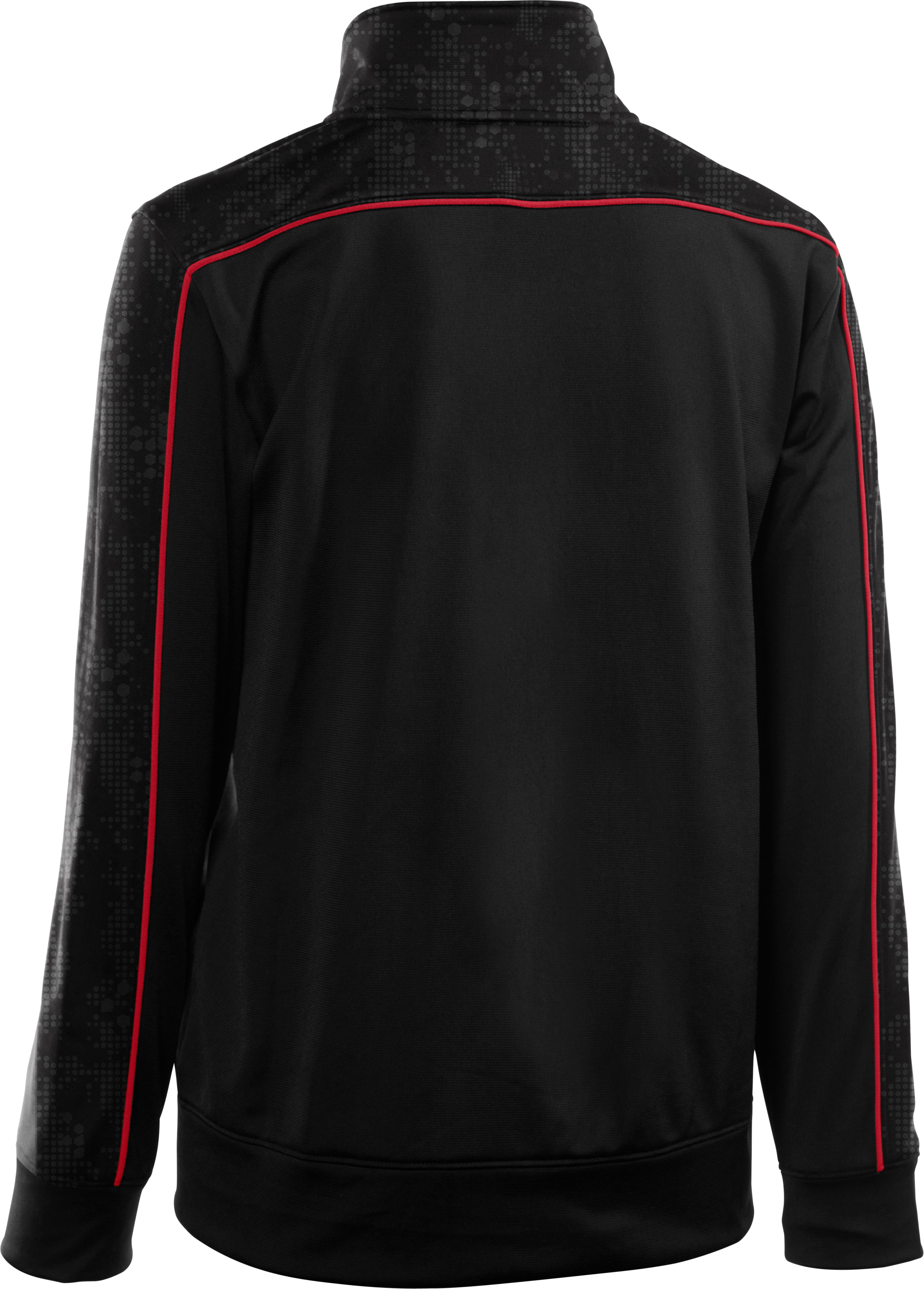 Boys' UA Brawler Embossed Warm-Up Jacket, Black , undefined