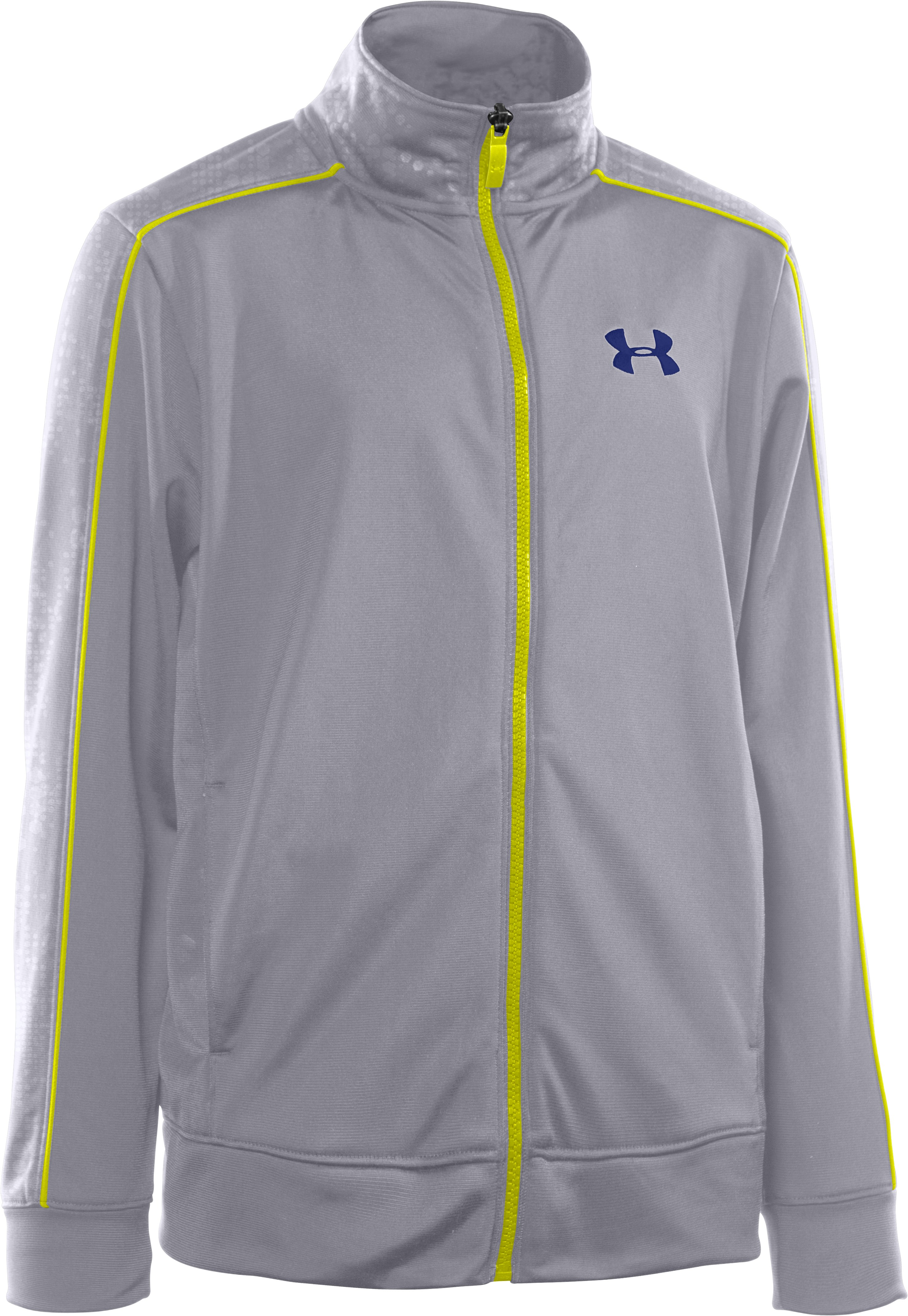 Boys' UA Brawler Embossed Warm-Up Jacket, Aluminum, zoomed image
