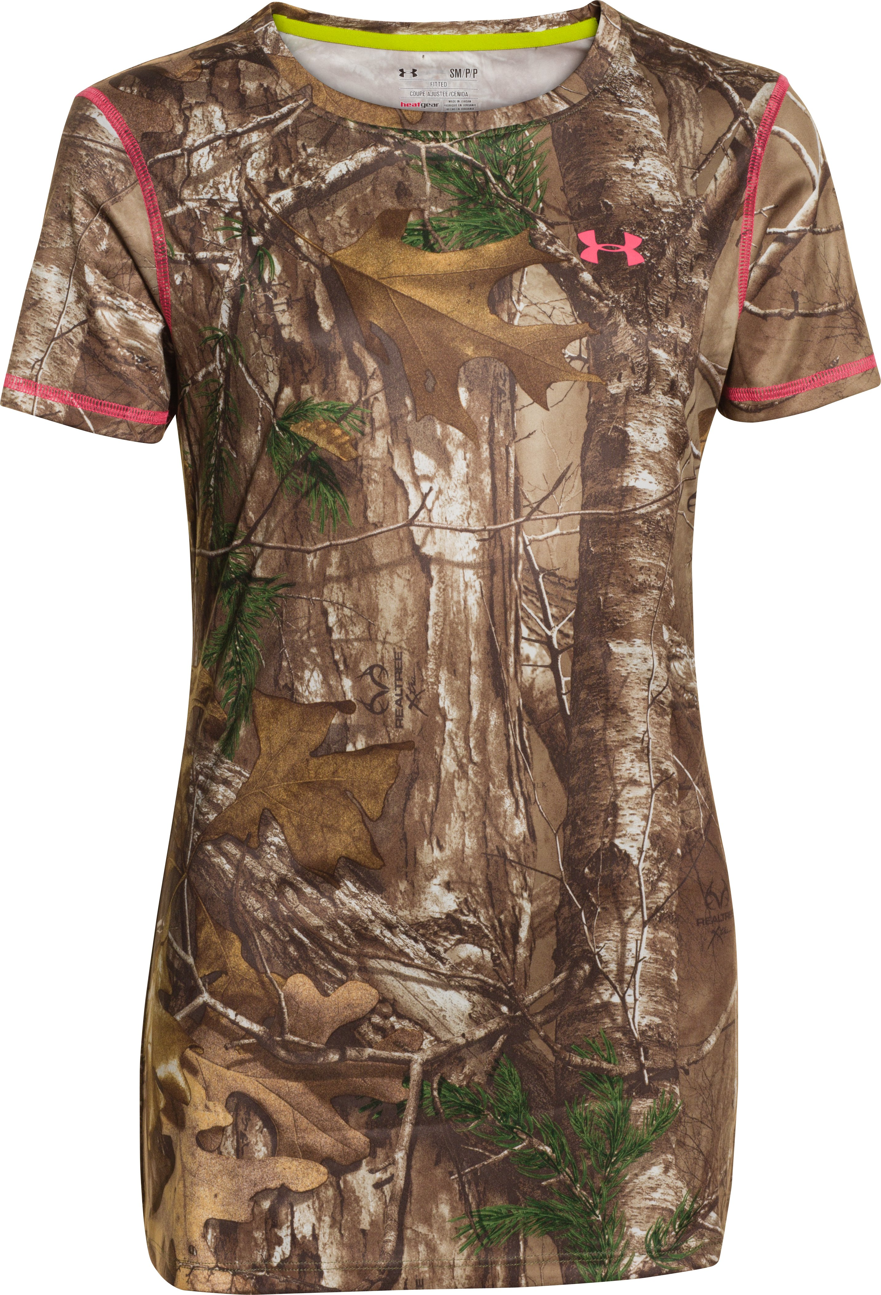 Women's HeatGear® EVO Camo Short Sleeve, REALTREE AP-XTRA