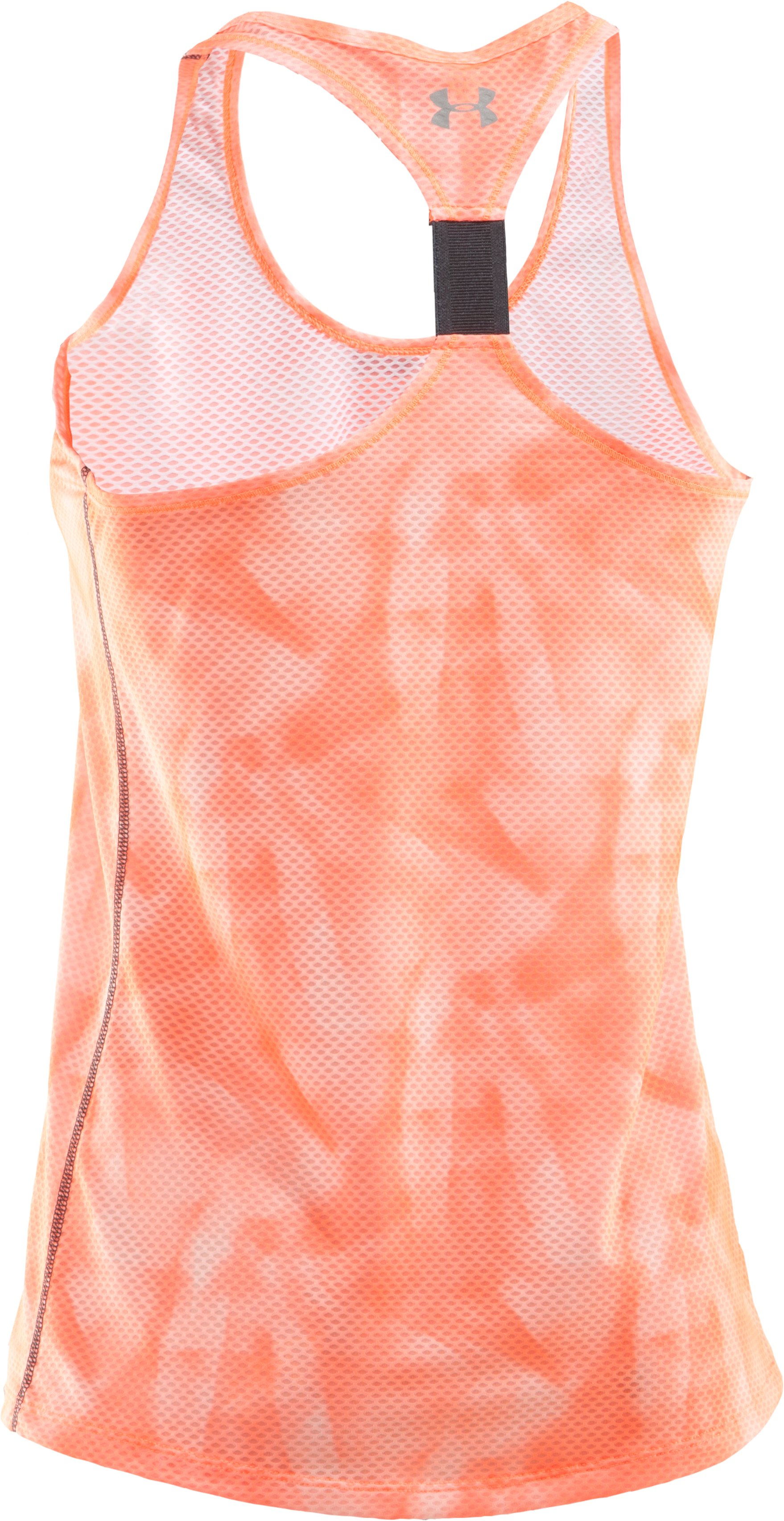 Women's UA Fly-By Printed Stretch Mesh Tank, ELECTRIC TANGERINE