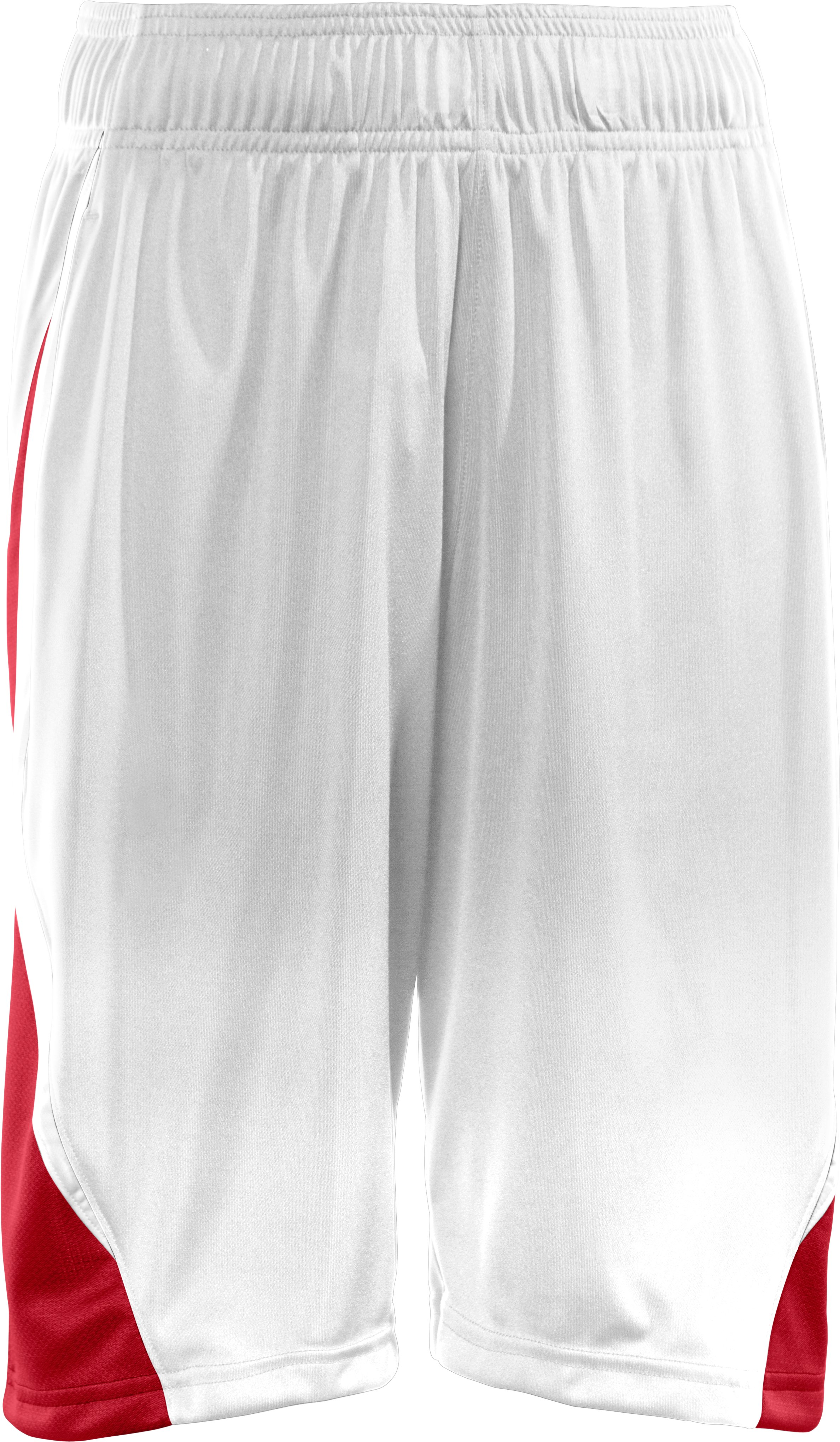 "Boys' UA Albesure 10"" Basketball Shorts, White"