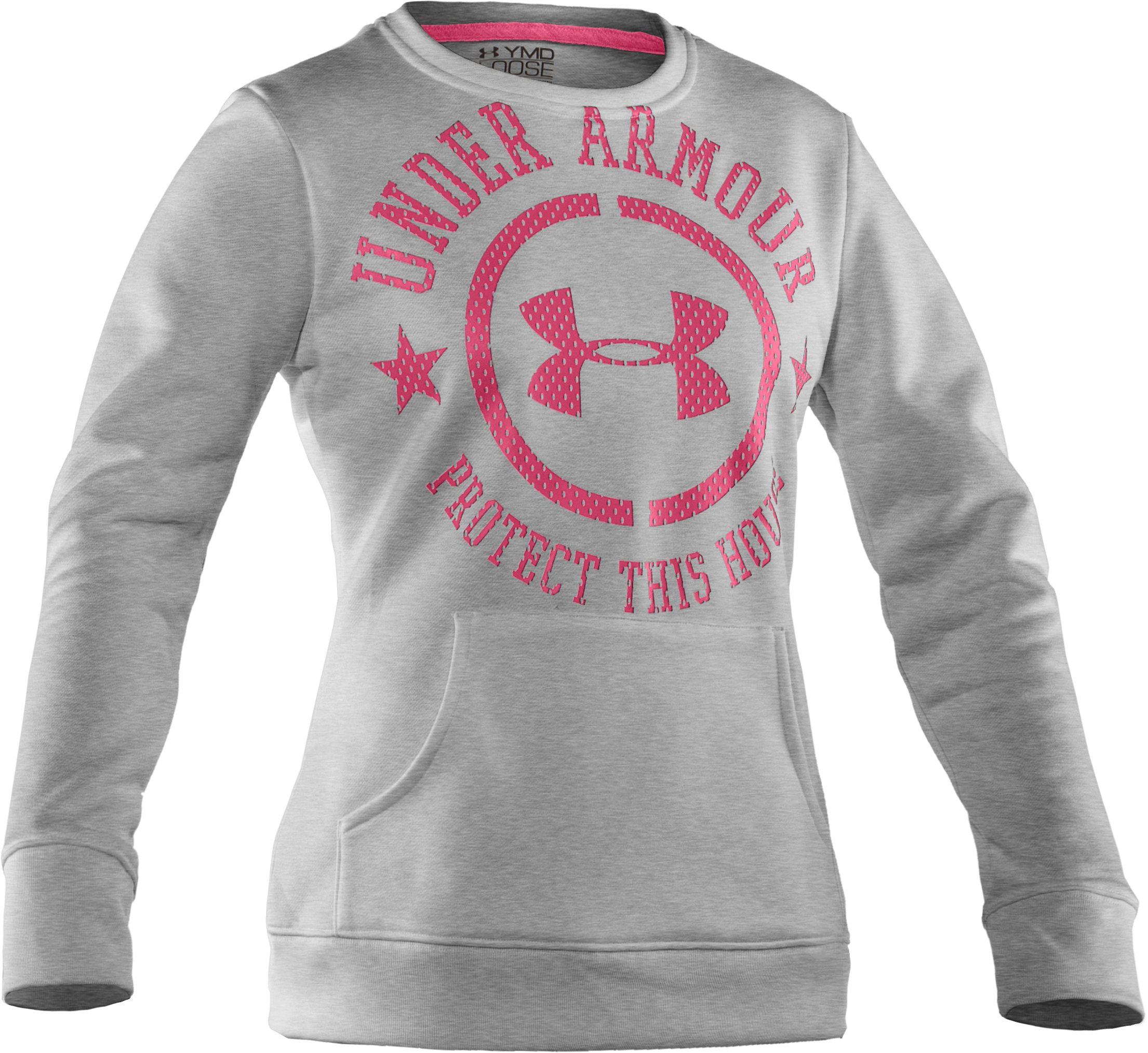 Girls' UA Spirit Crew, True Gray Heather, zoomed image
