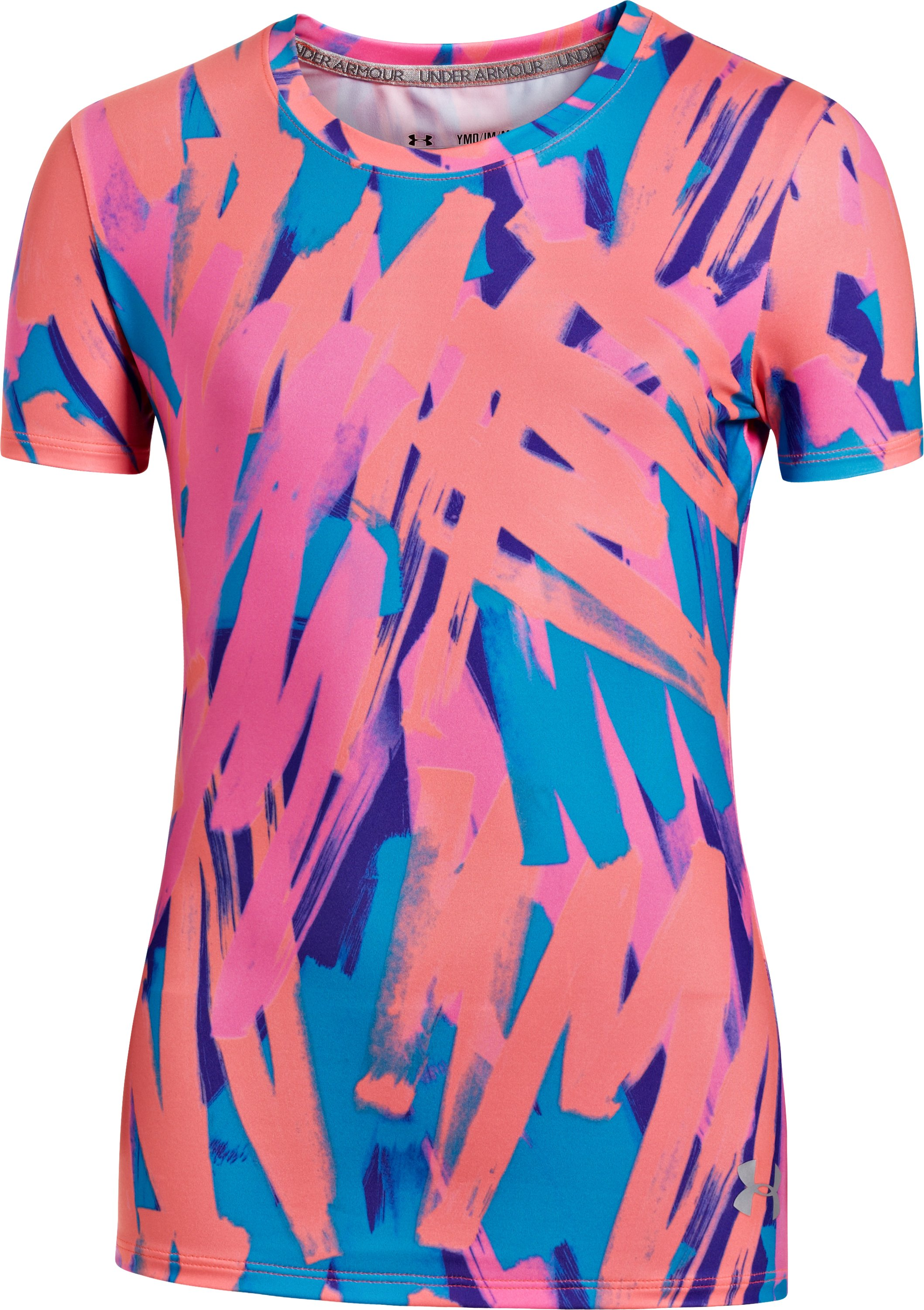 Girls' HeatGear® Sonic Printed Short Sleeve, PRIDE, zoomed image