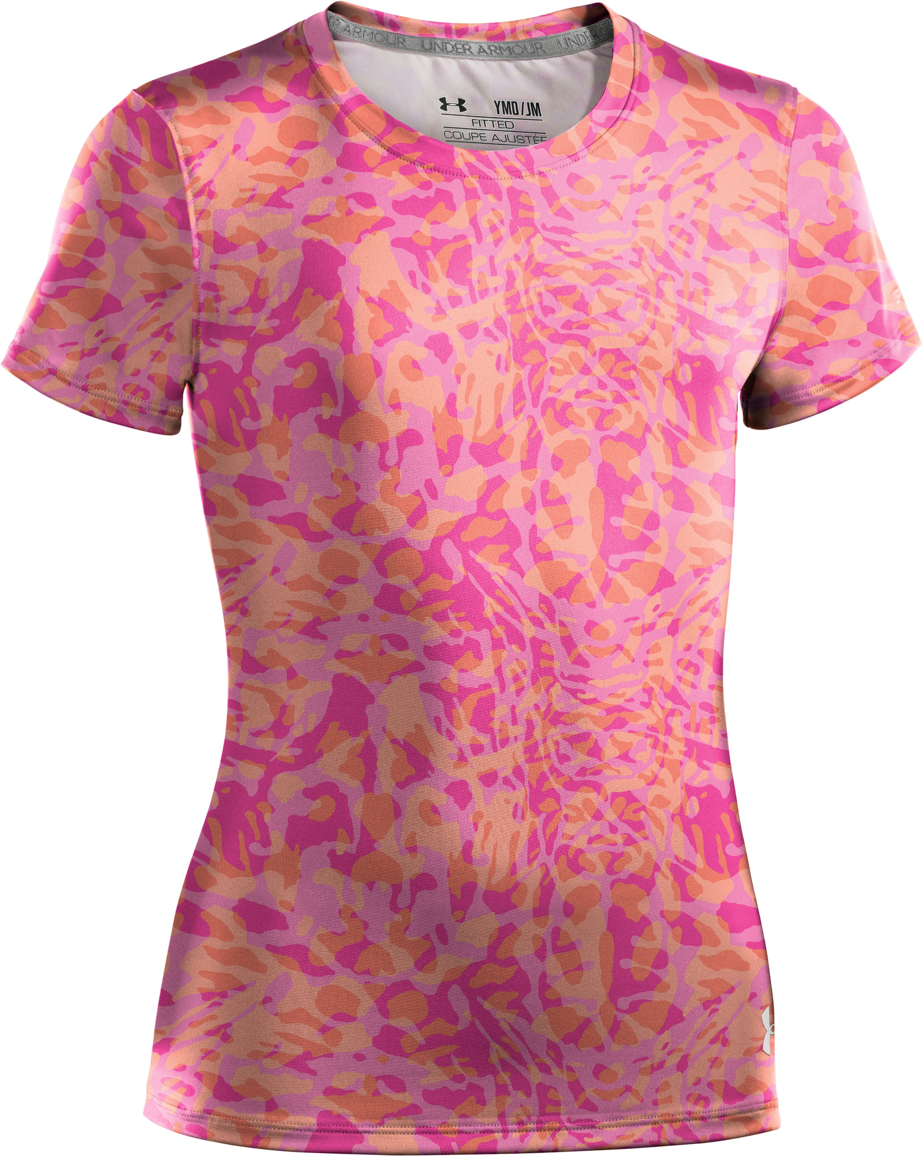 Girls' HeatGear® Sonic Printed Short Sleeve, ELECTRIC TANGERINE, zoomed image