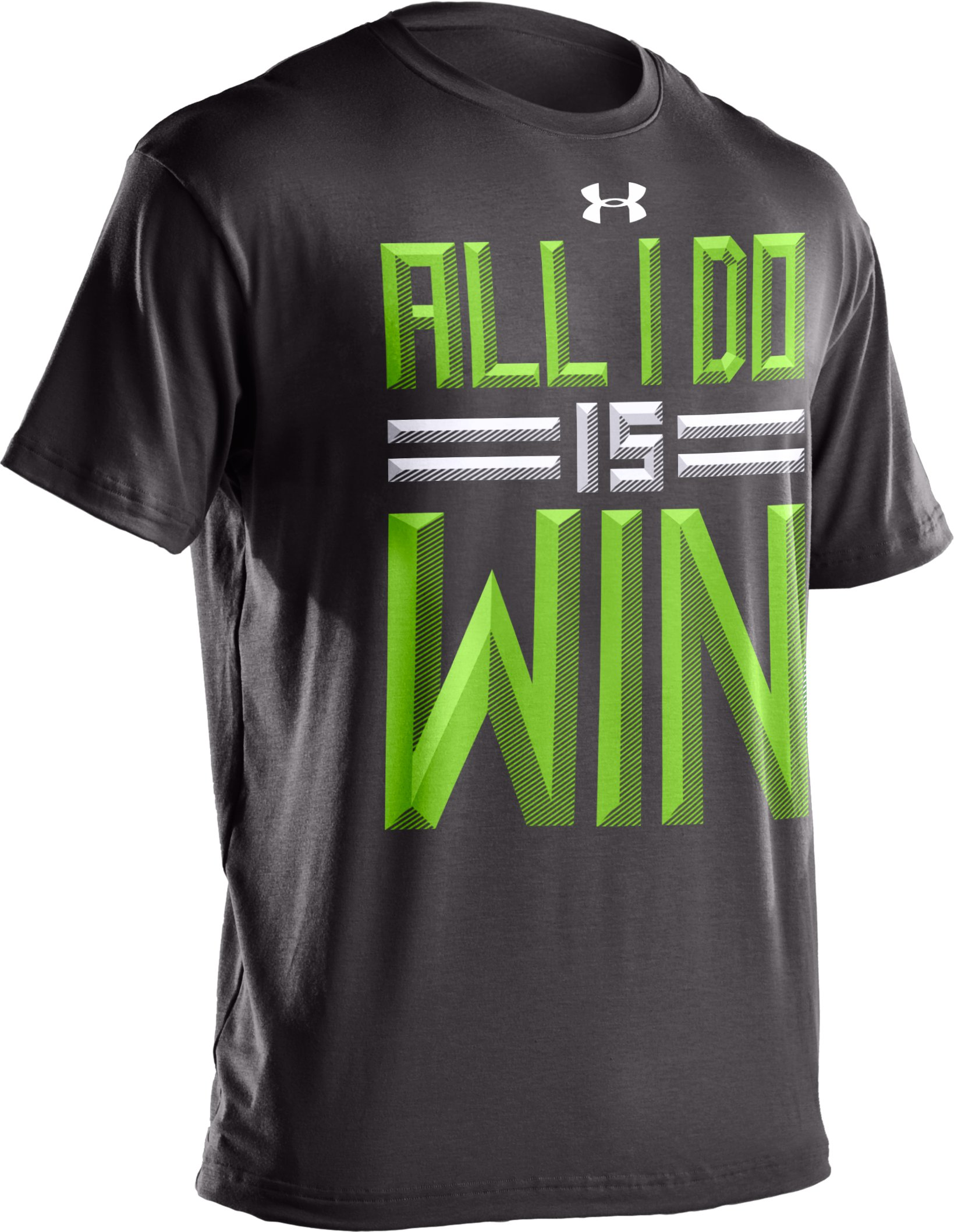 Boys' UA All I Do Is Win T-Shirt, Charcoal, undefined