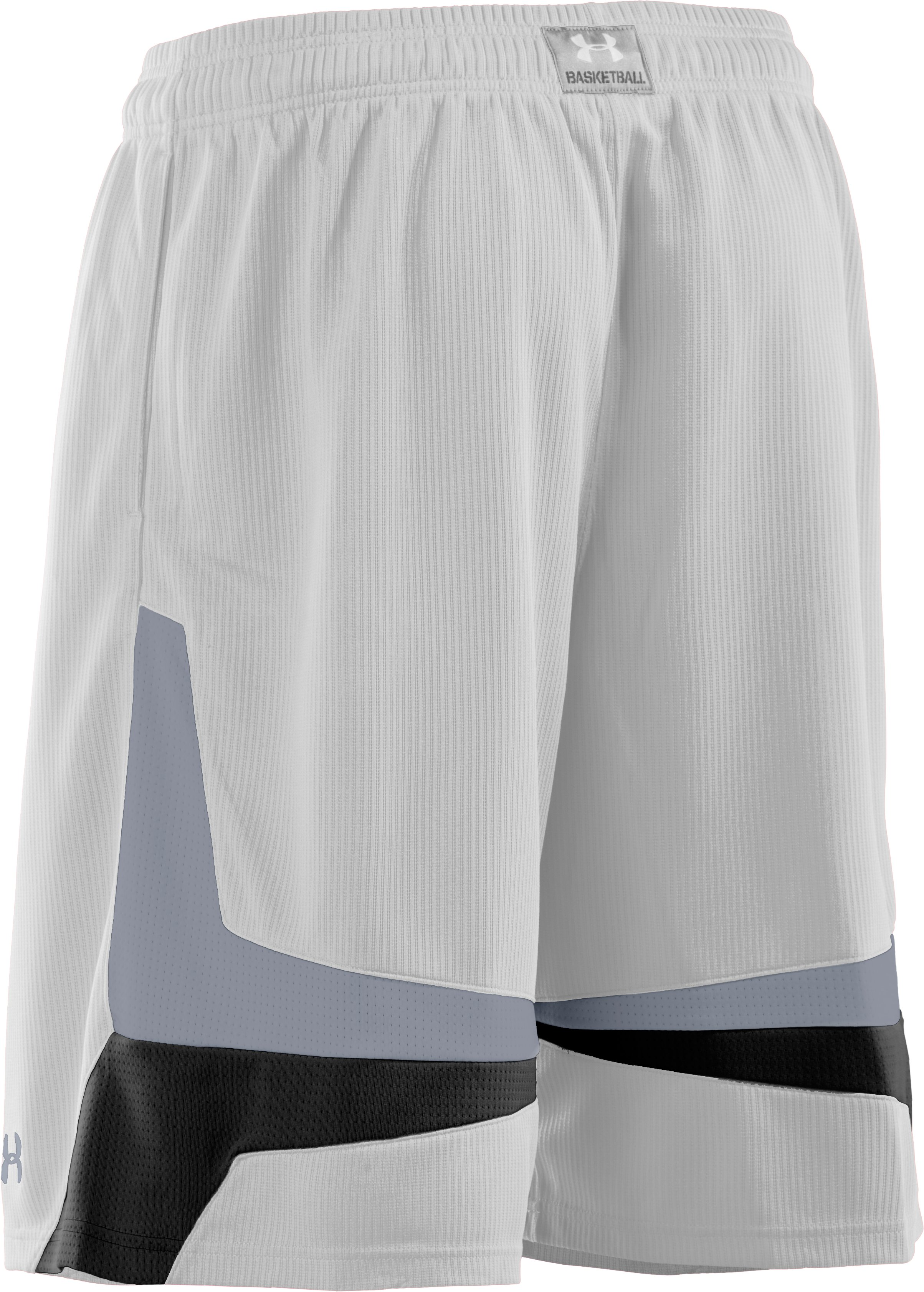 "Men's UA Mustang 10"" Basketball Shorts, White, undefined"