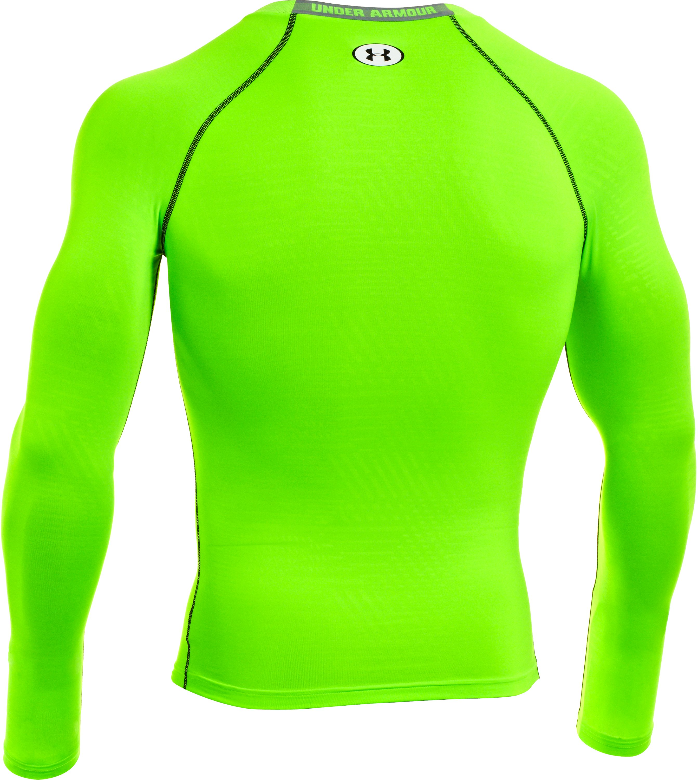 Men's HeatGear® Sonic Printed Compression Long Sleeve, HYPER GREEN, undefined