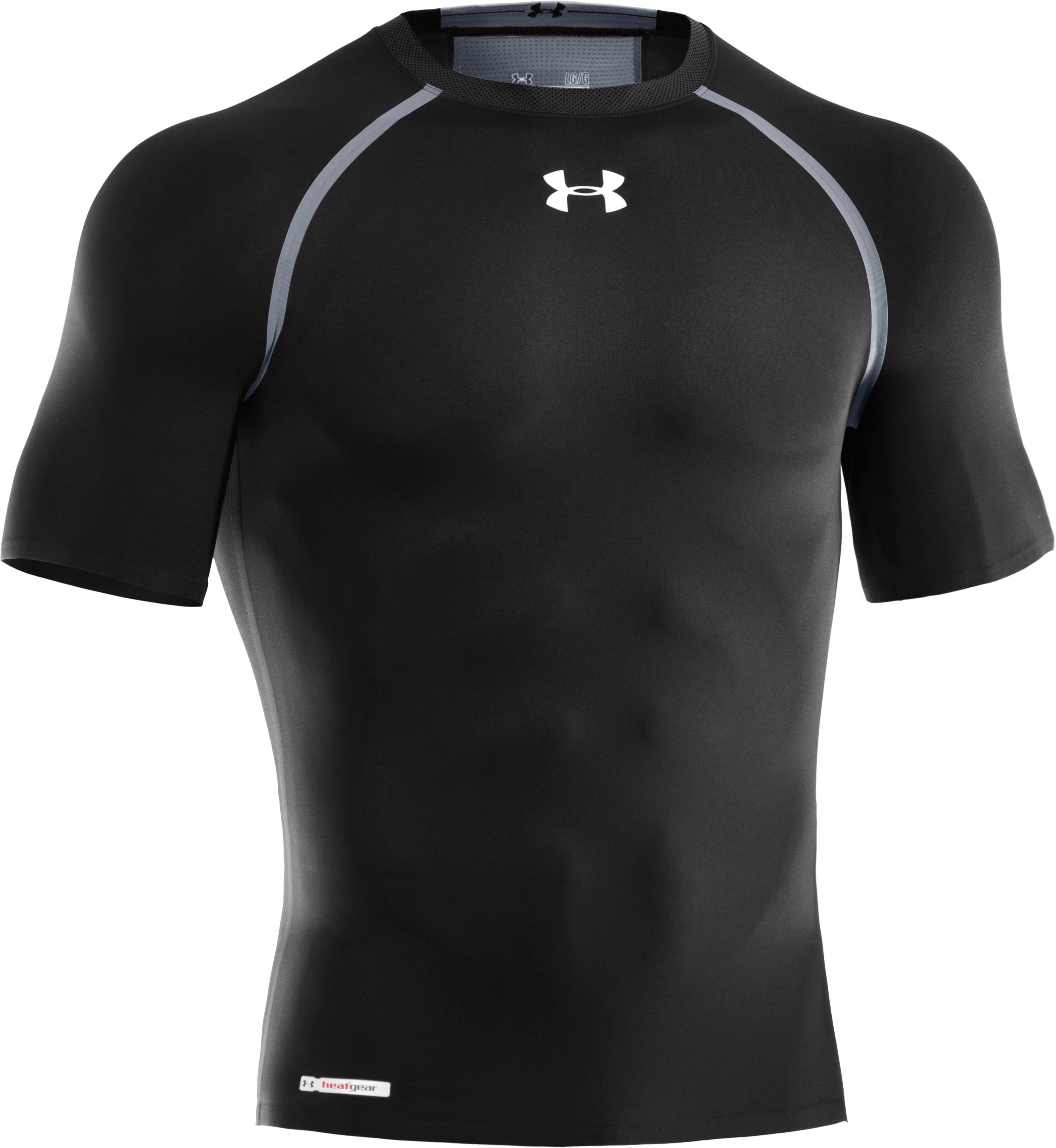 Men's HeatGear® Dynasty Vented Compression Short Sleeve, Black ,