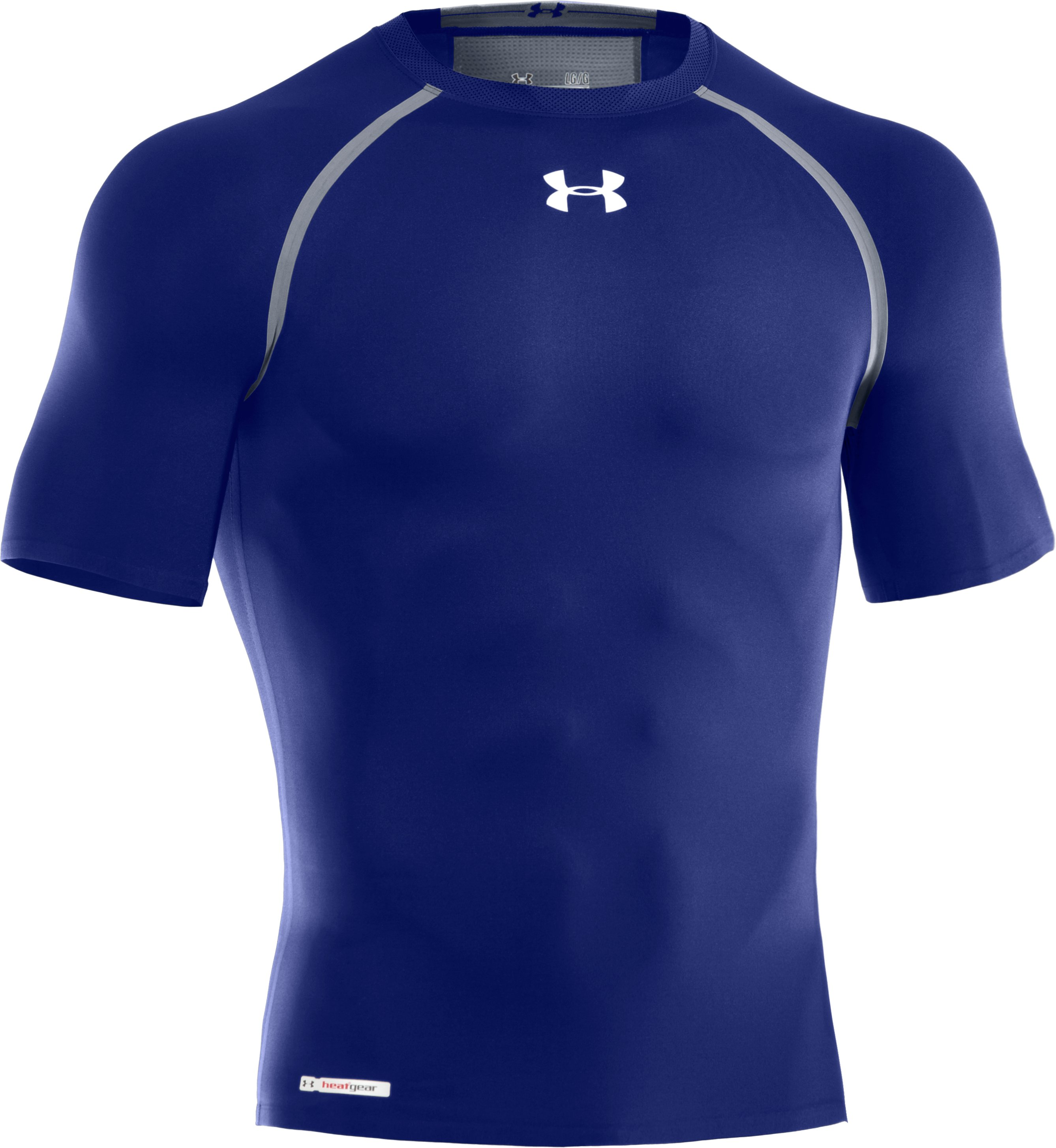 Men's HeatGear® Dynasty Vented Compression Short Sleeve, Royal, undefined