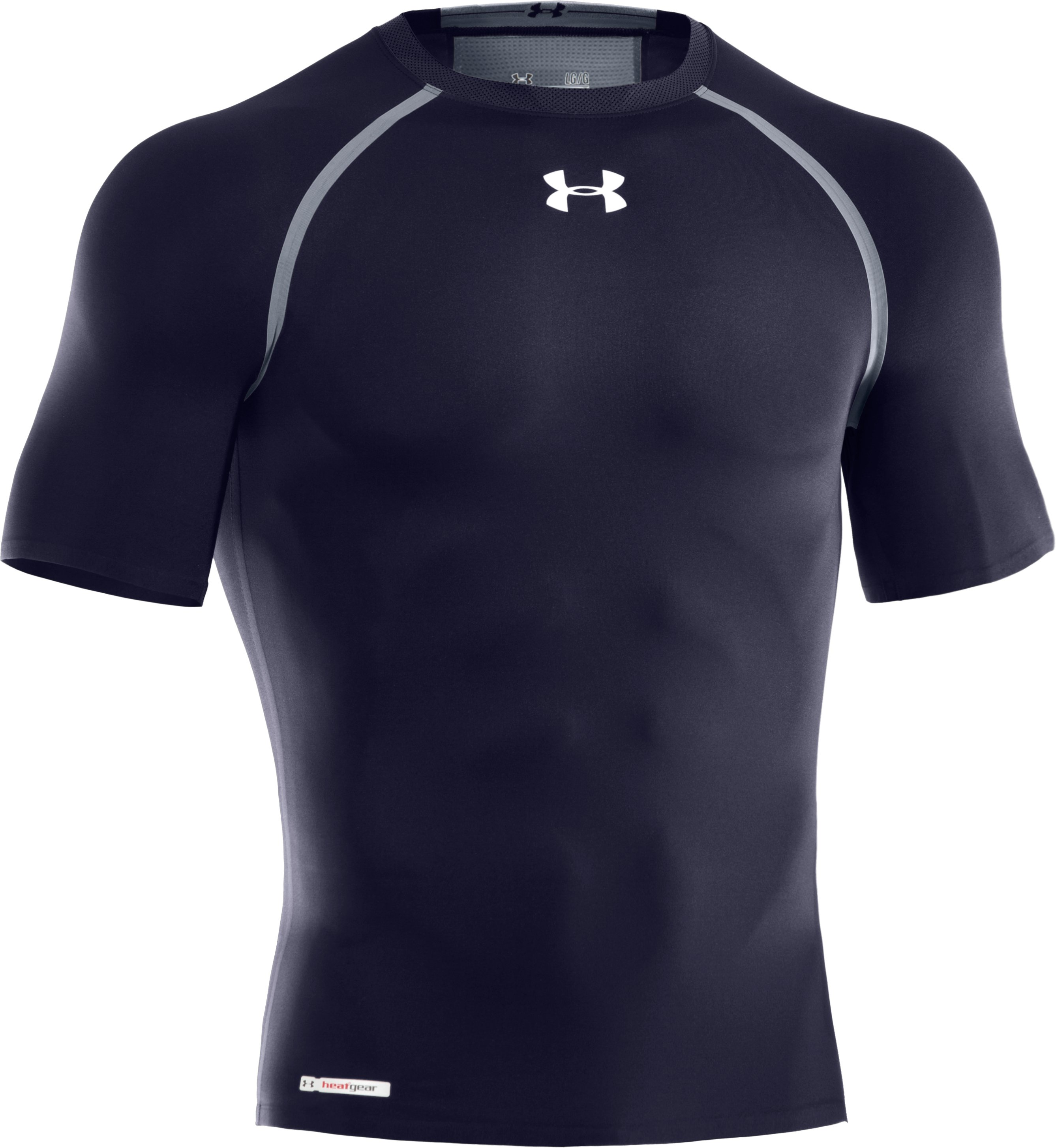 Men's HeatGear® Dynasty Vented Compression Short Sleeve, Midnight Navy