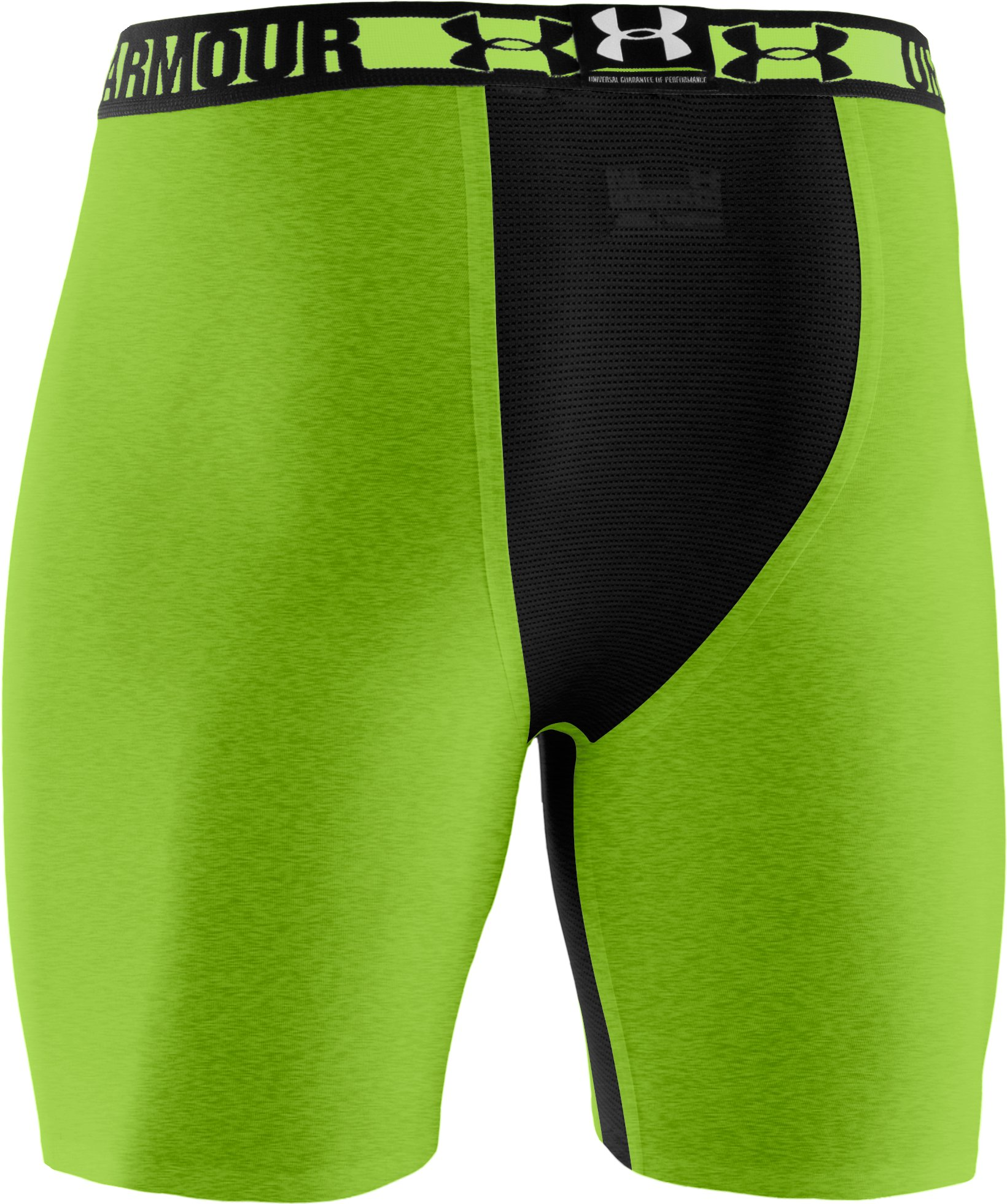 "Men's HeatGear® Dynasty Vented 6"" Compression Shorts, HYPER GREEN"