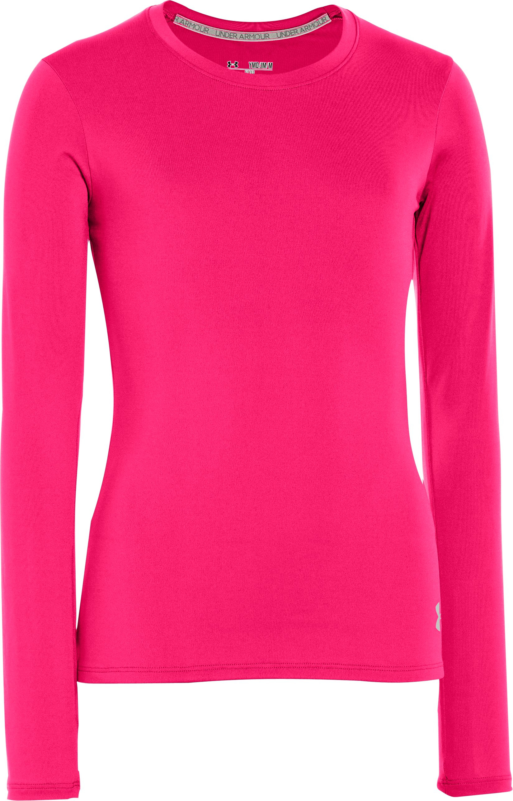 Girls' HeatGear® Sonic Long Sleeve, PINKADELIC