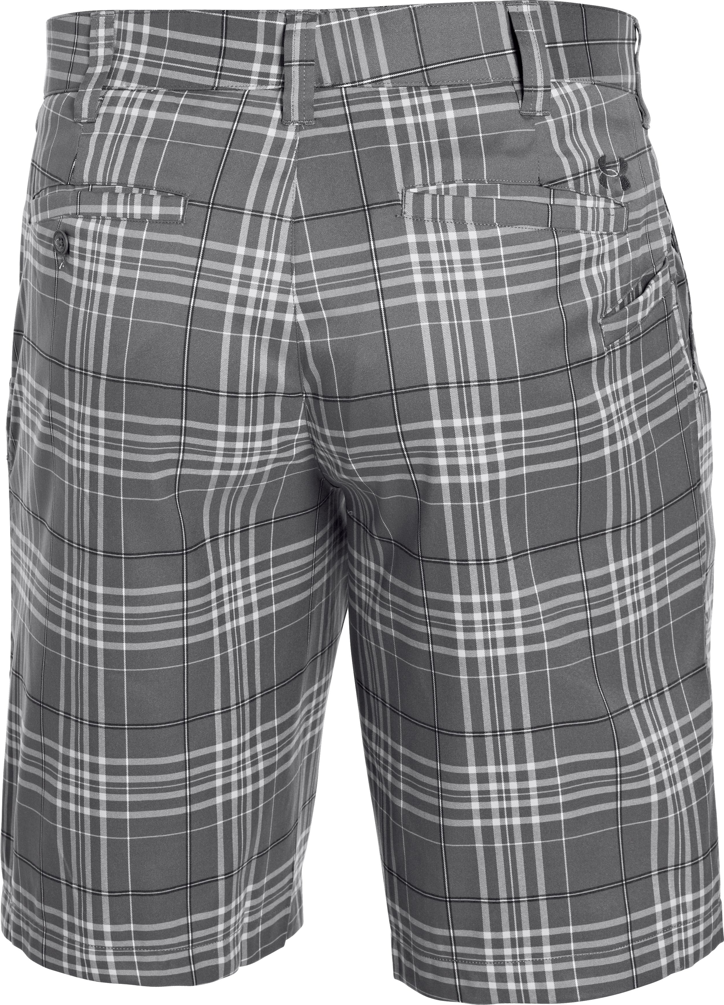 Men's UA Forged Plaid Golf Shorts 3.5, Graphite