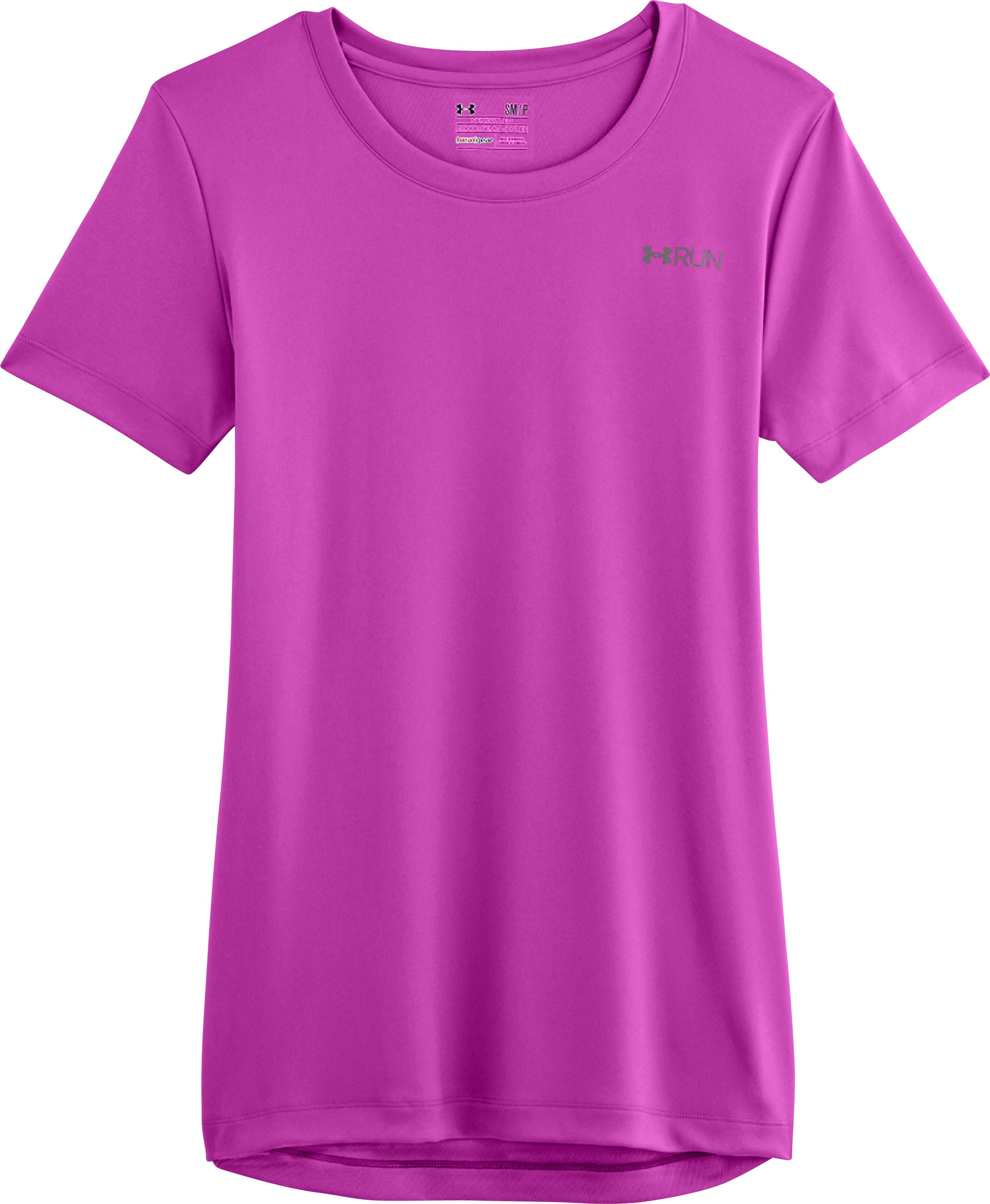 Women's UA Out Running Graphic T-Shirt, STROBE, Laydown