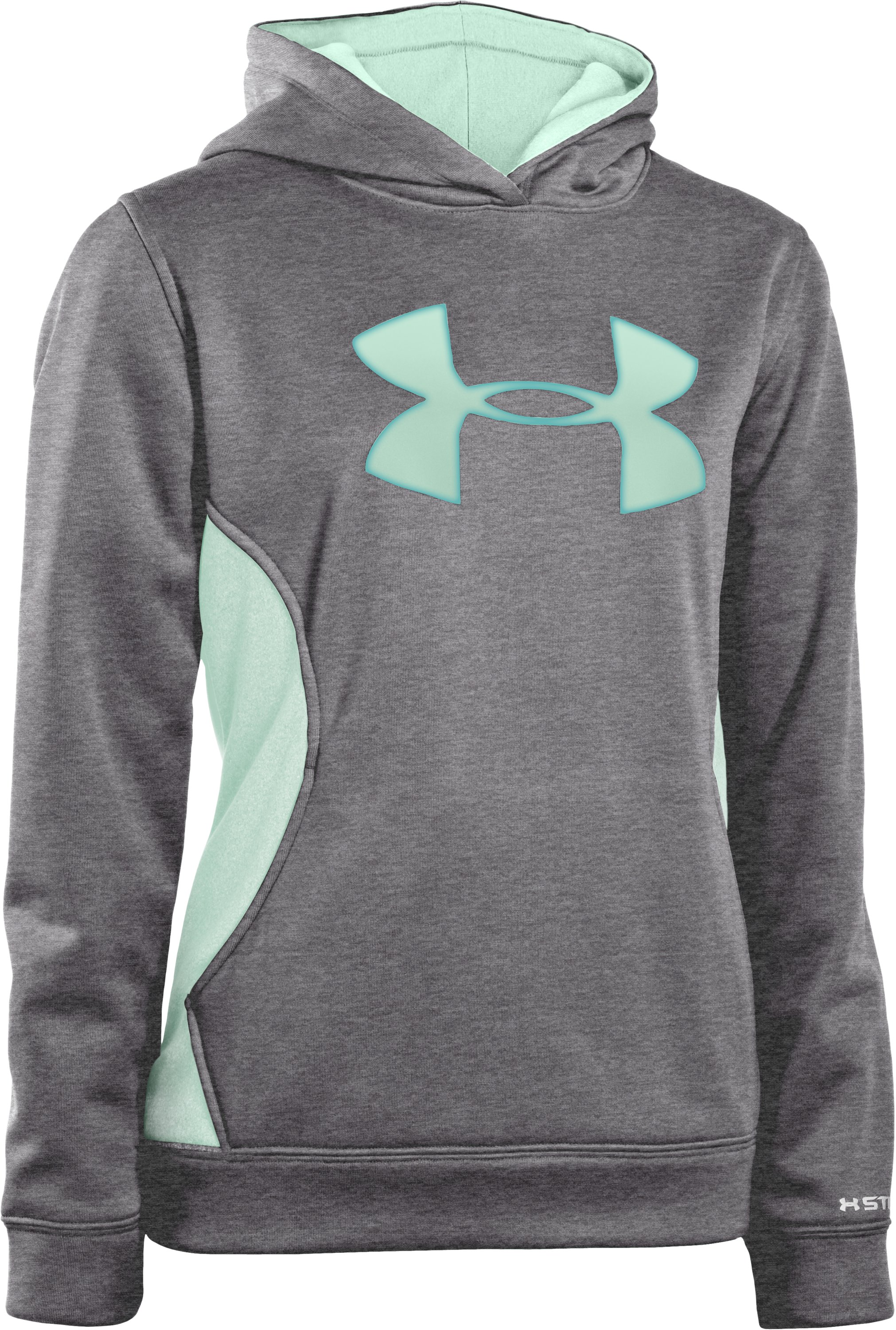 Girls' Armour® Fleece Storm Big Logo Hoodie, Carbon Heather