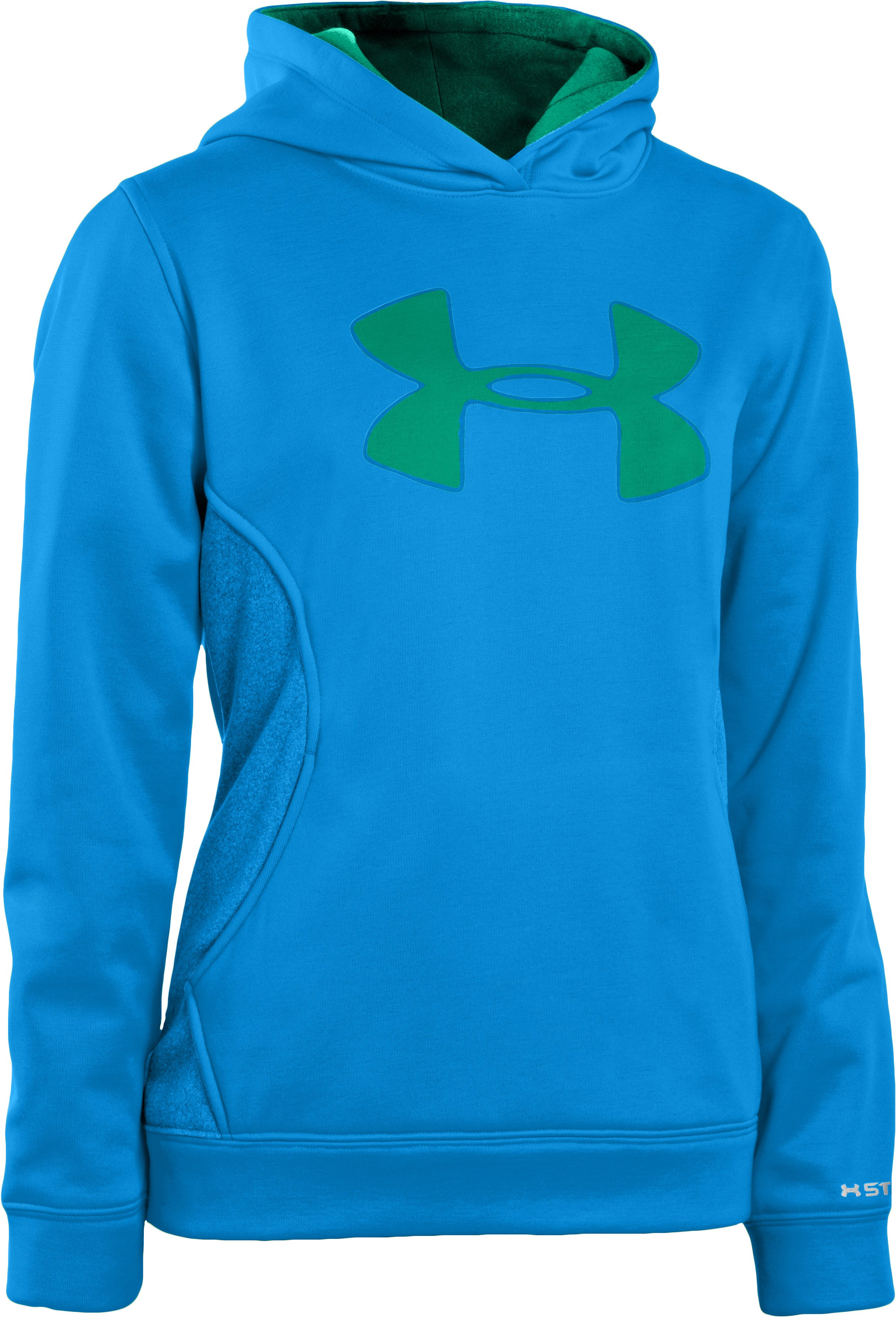Girls' Armour® Fleece Storm Big Logo Hoodie, ELECTRIC BLUE, zoomed image