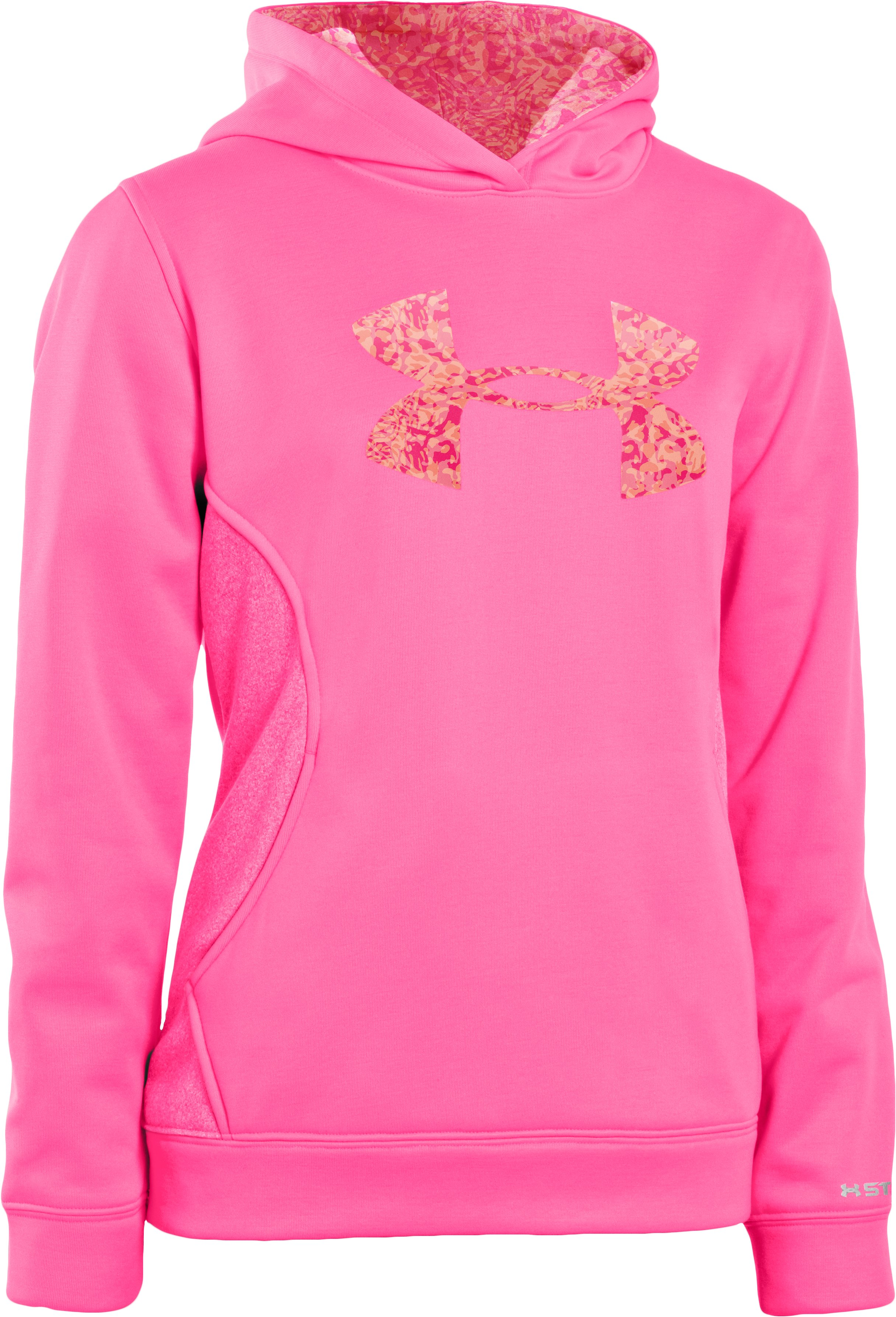 Girls' Armour® Fleece Storm Big Logo Hoodie, PINKADELIC, undefined