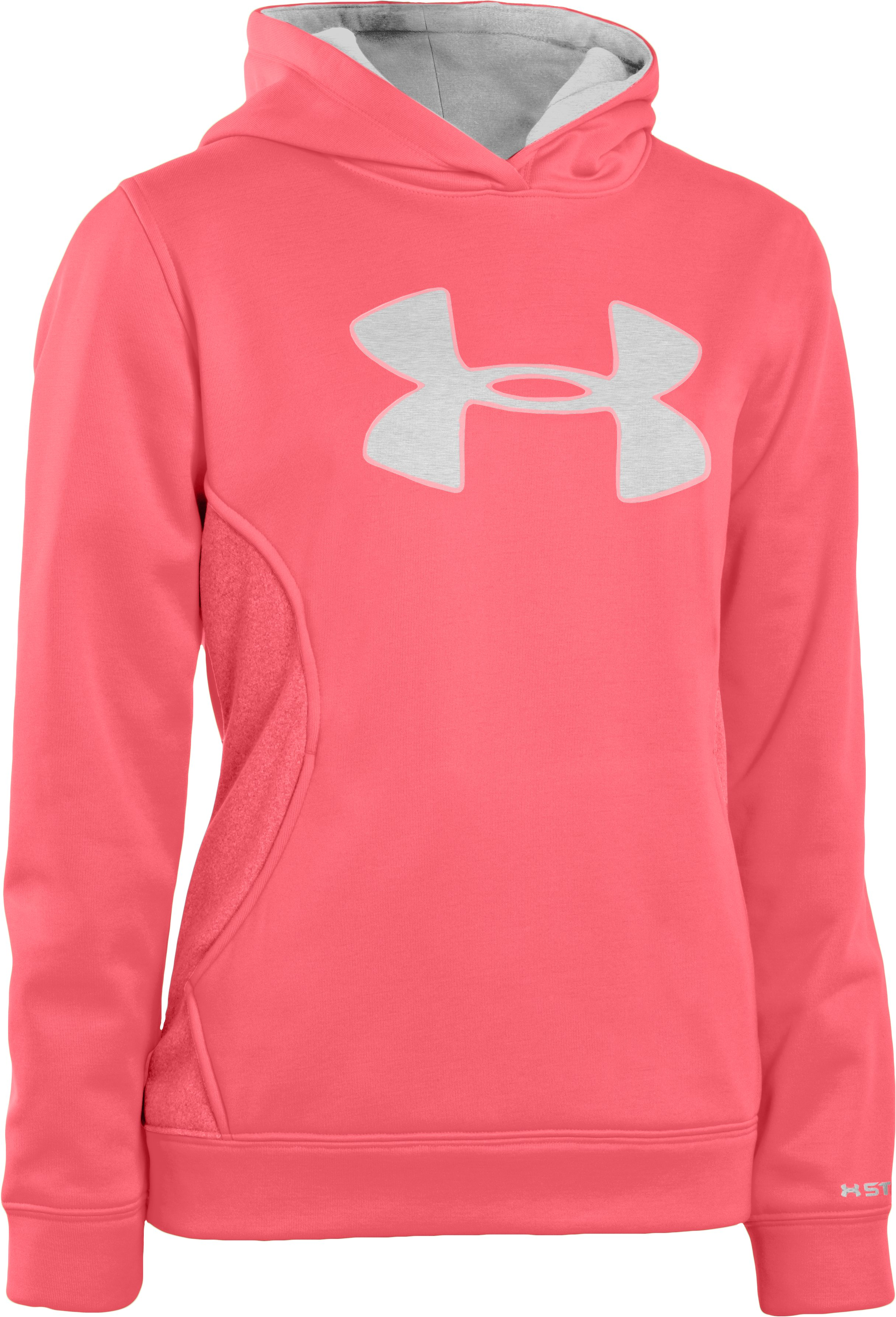 Girls' Armour® Fleece Storm Big Logo Hoodie, BRILLIANCE, zoomed image