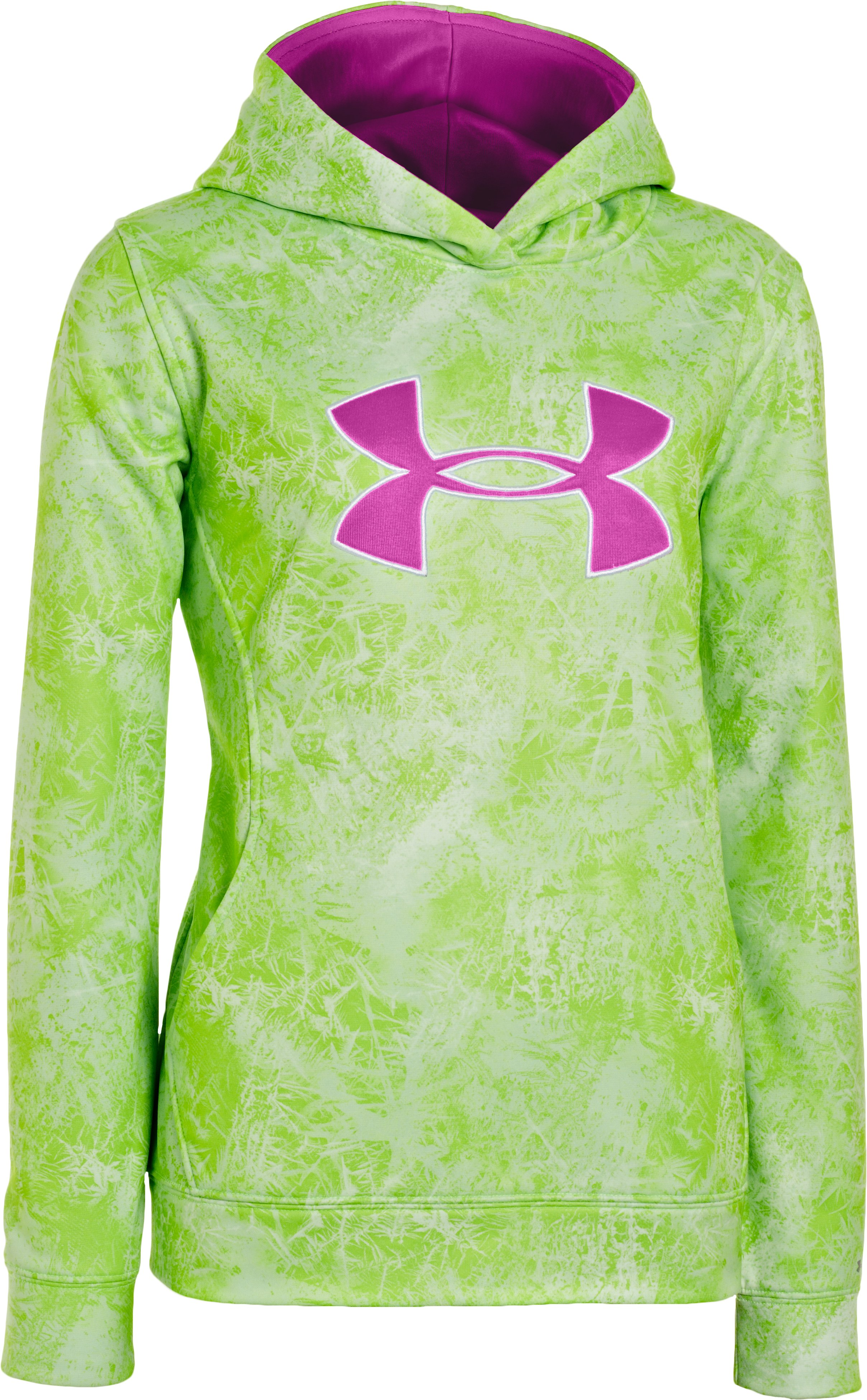 Girls' Armour® Fleece Storm Printed Big Logo Hoodie, HYPER GREEN, undefined