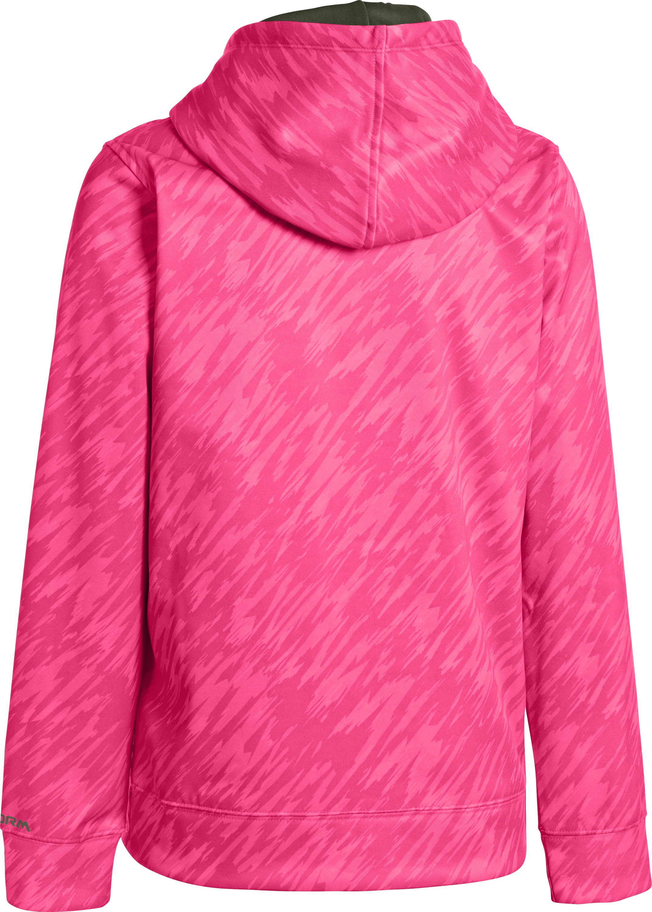 Girls' Armour® Fleece Storm Printed Big Logo Hoodie, Cerise