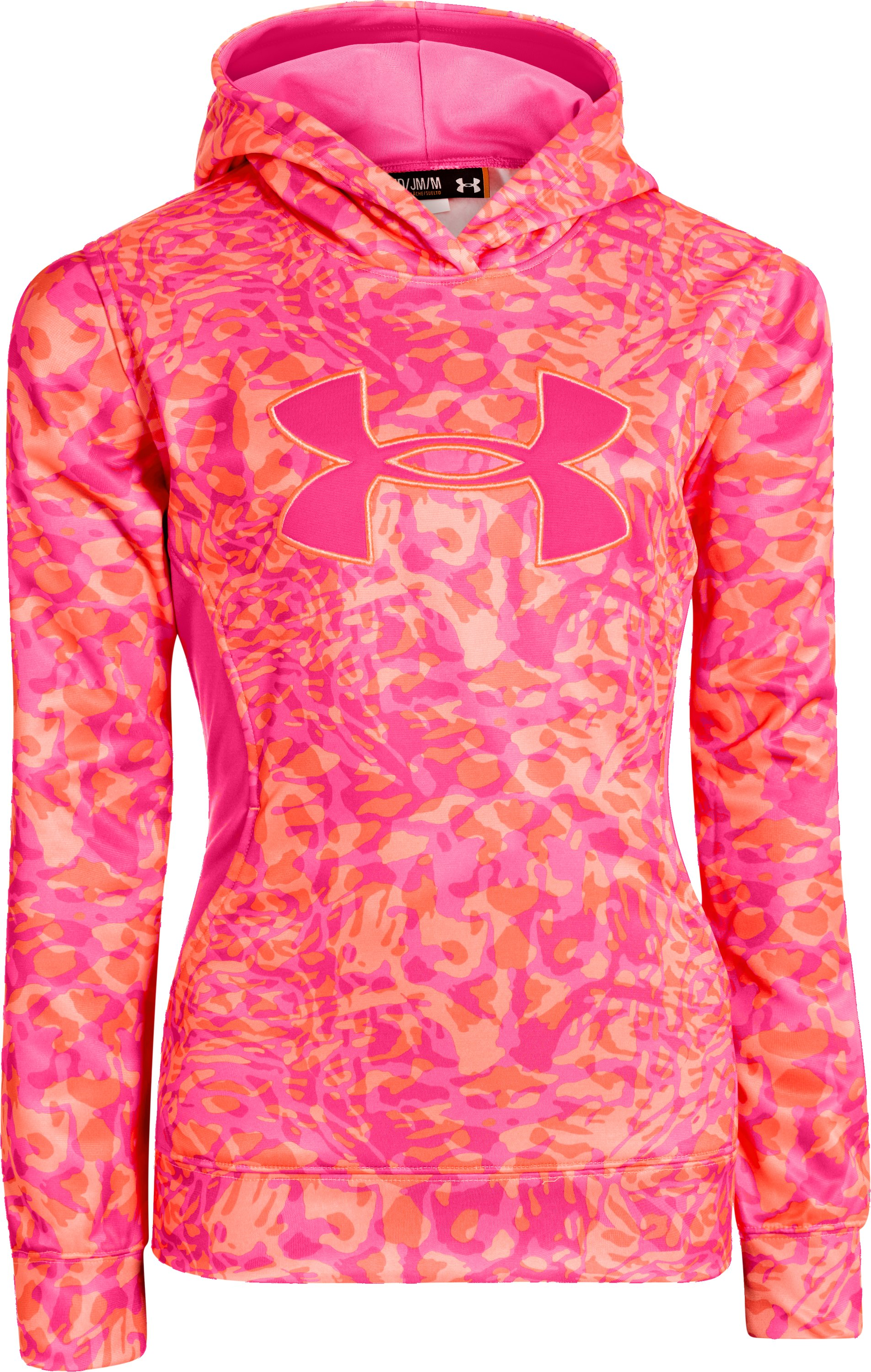 Girls' Armour® Fleece Storm Printed Big Logo Hoodie, ELECTRIC TANGERINE, zoomed image
