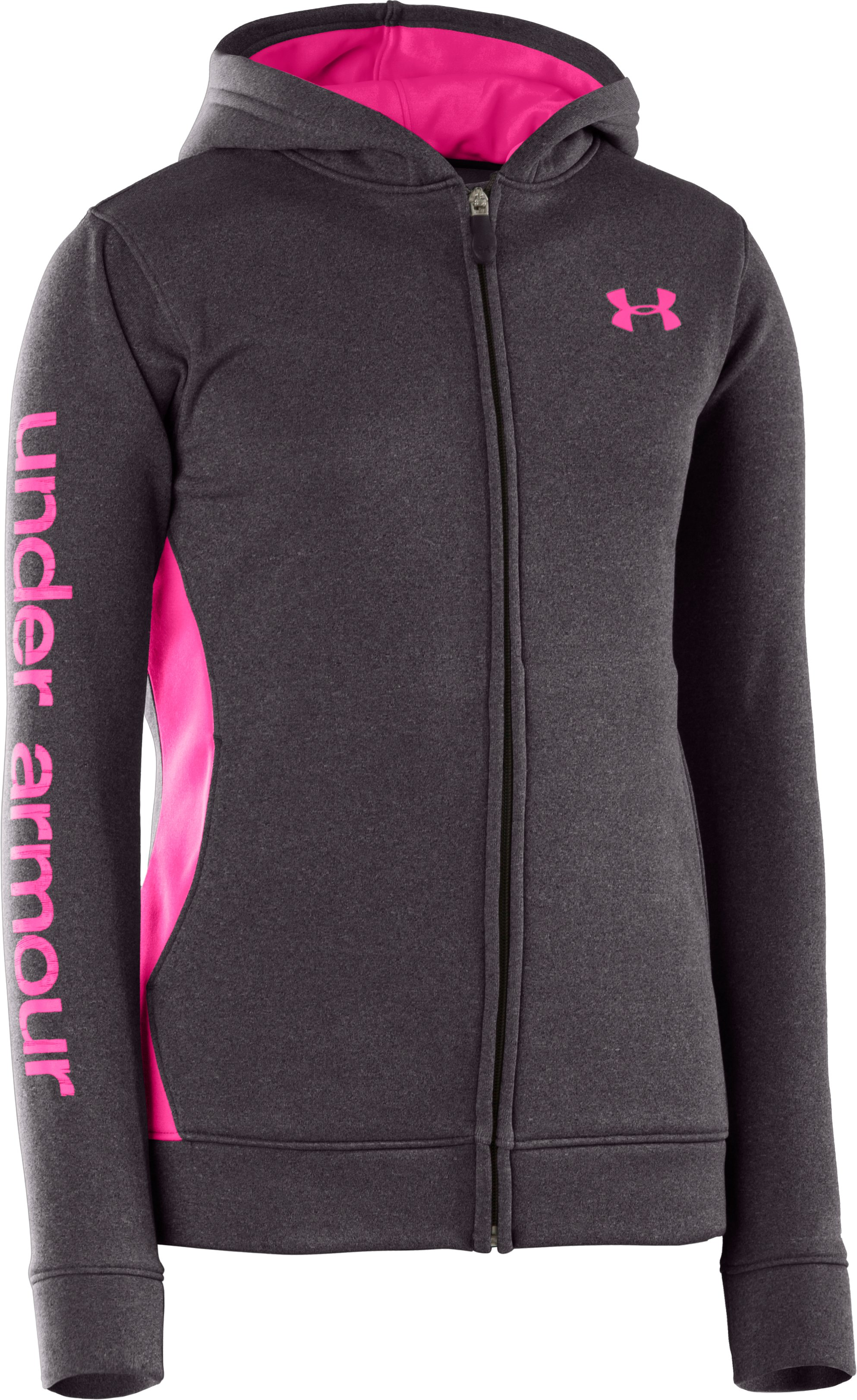 Girls' Armour® Fleece Full Zip Hoodie, Carbon Heather, zoomed image