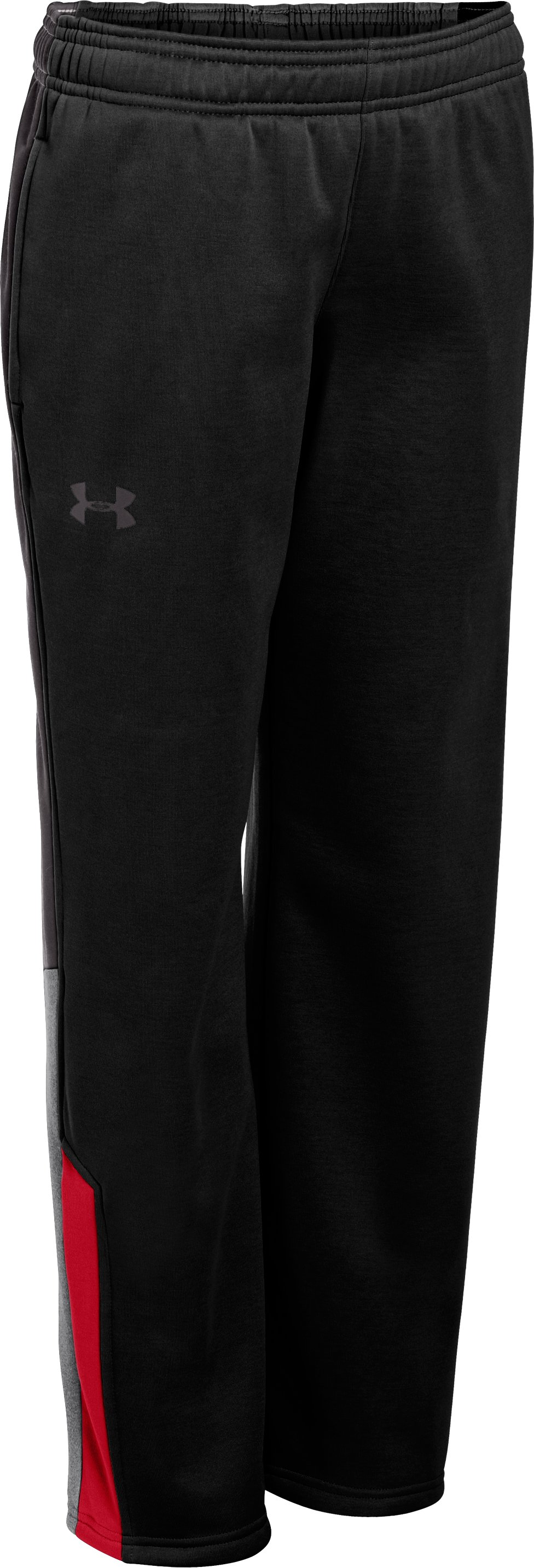 Boys' Armour® Fleece Storm Strokes Warm-Up Pants 2.0, Black , zoomed image